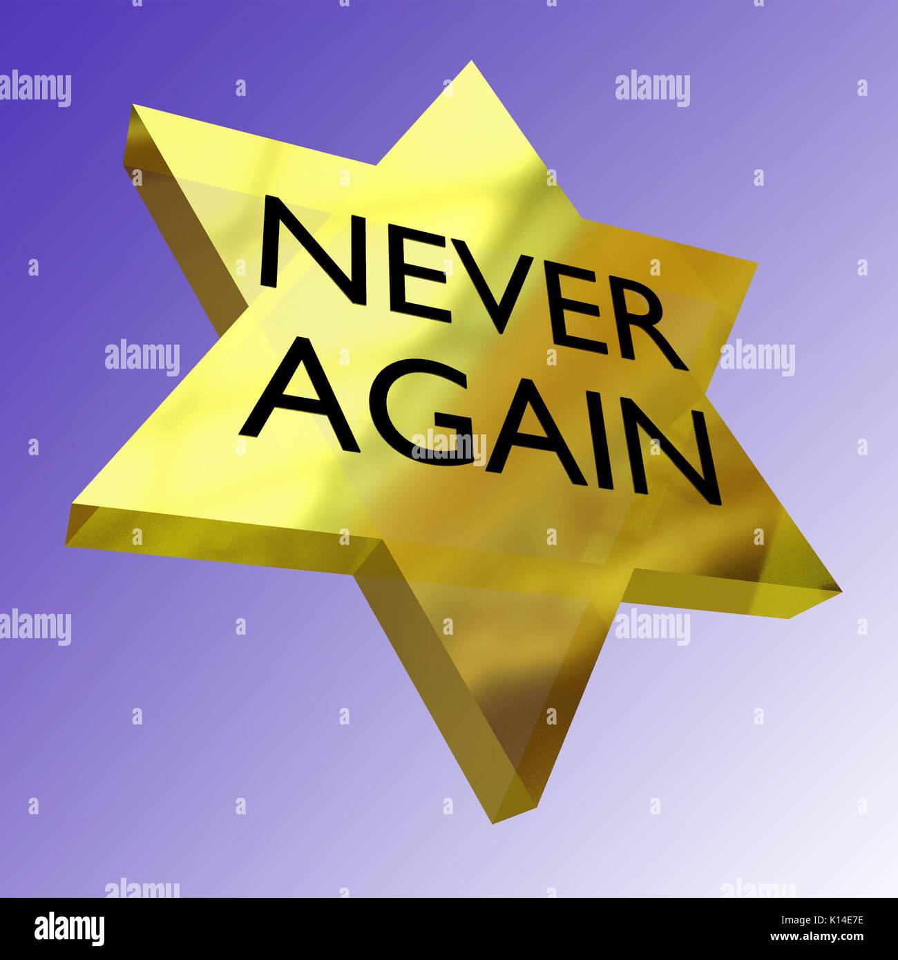 Never Again >> 3d Illustration Of Never Again Script On David Star Stock Photo