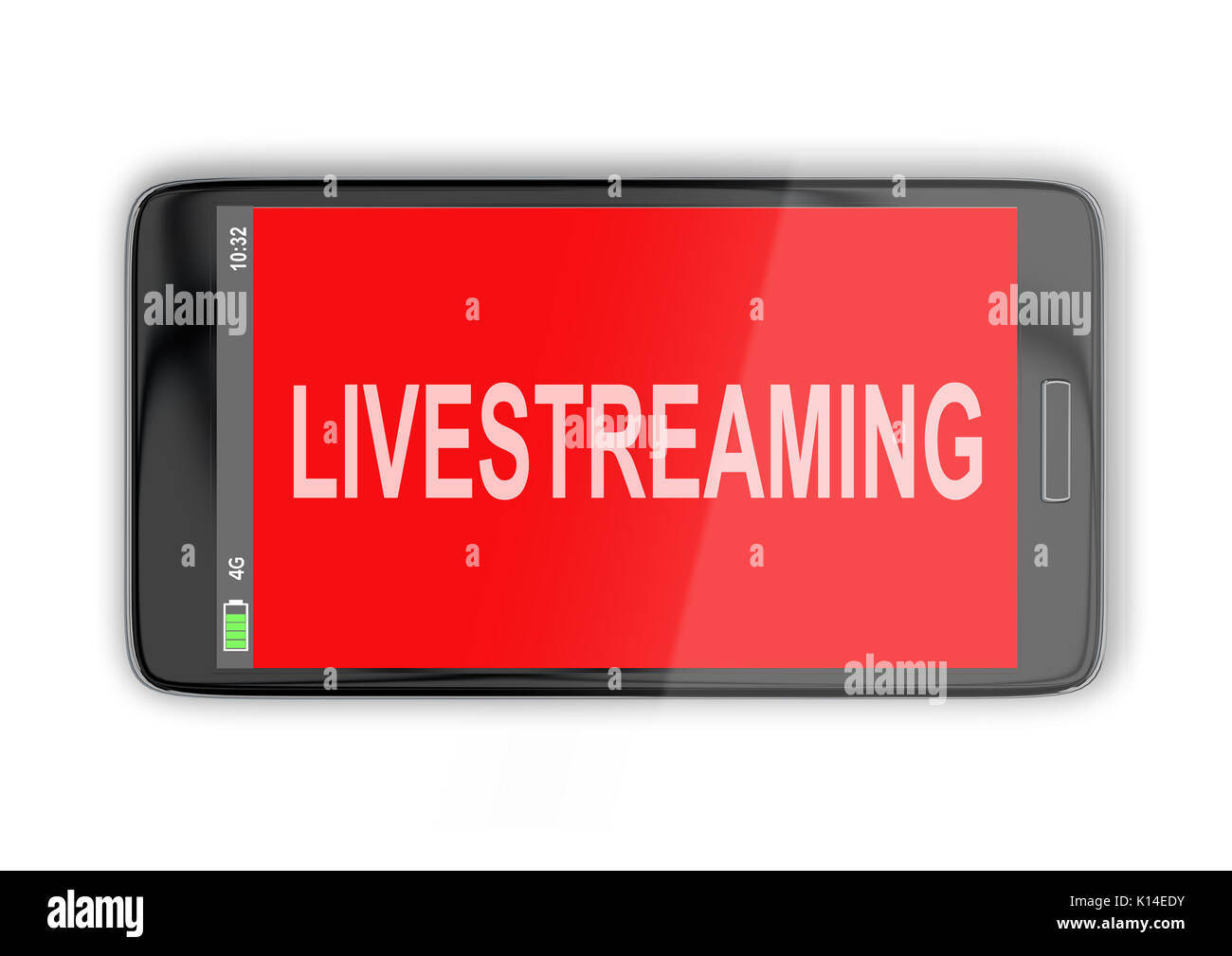 3D illustration of 'LIVESTREAMING' title on cellular screen, isolated on white. Communication concept. - Stock Image
