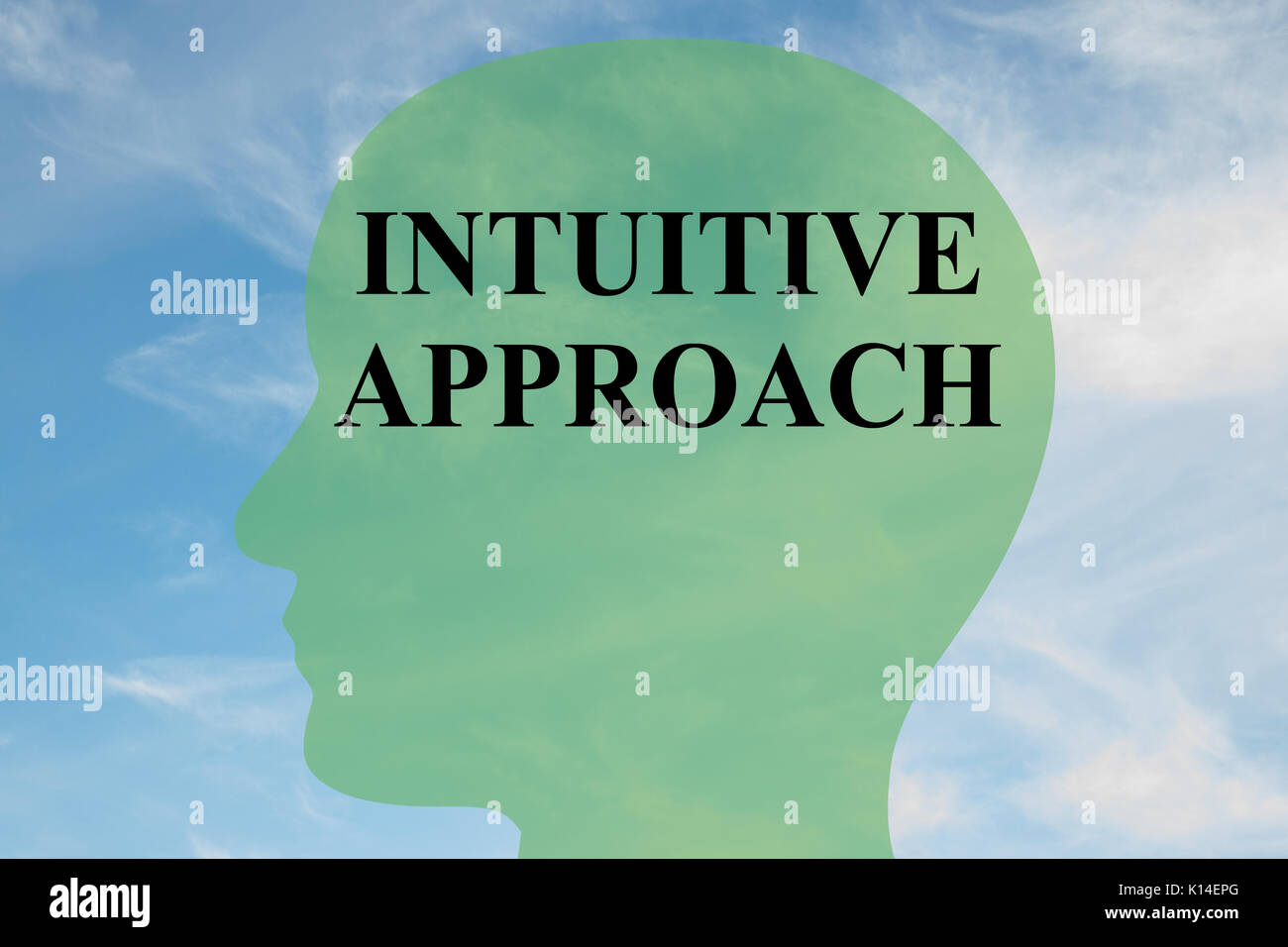 Render illustration of 'INTUITIVE APPROACH' script on head silhouette, with cloudy sky as a background. - Stock Image