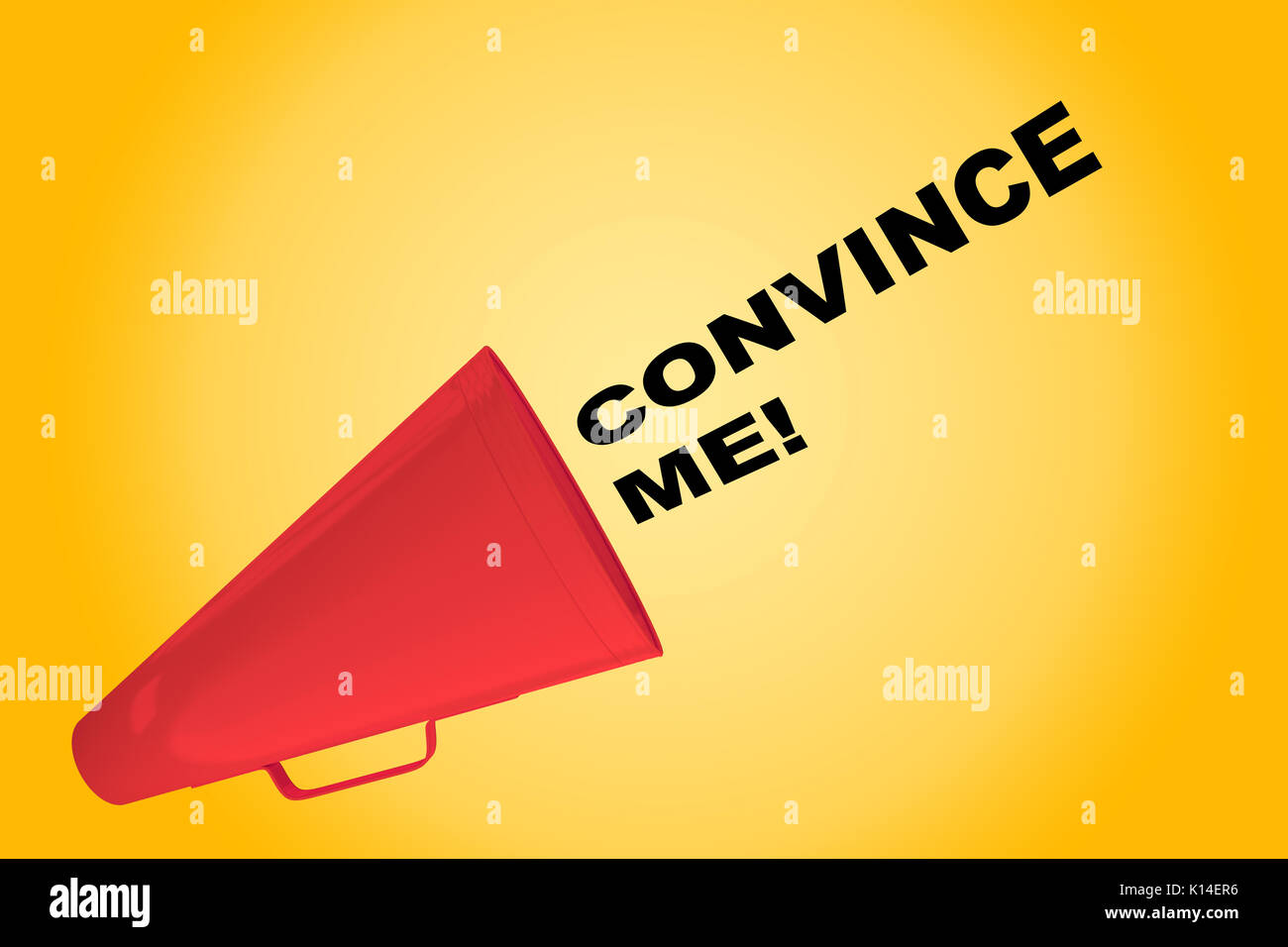3D illustration of 'CONVINCE ME!' title flowing from a loudspeaker - Stock Image
