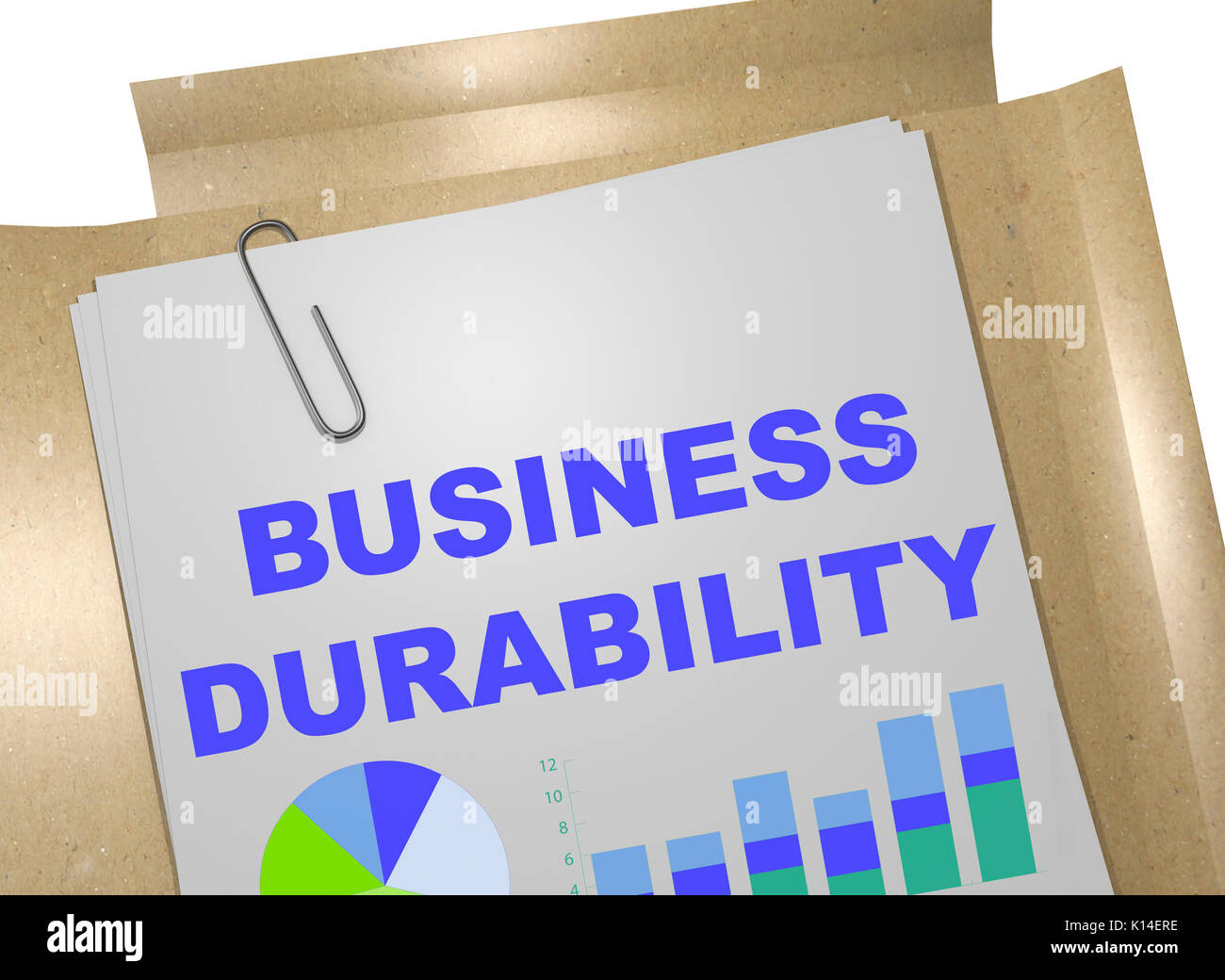3D illustration of 'BUSINESS DURABILITY' title on business document - Stock Image