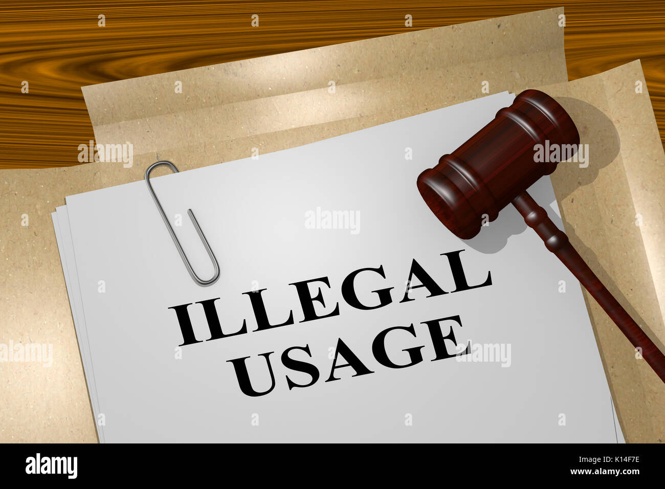 3D illustration of 'ILLEGAL USAGE' title on legal document - Stock Image