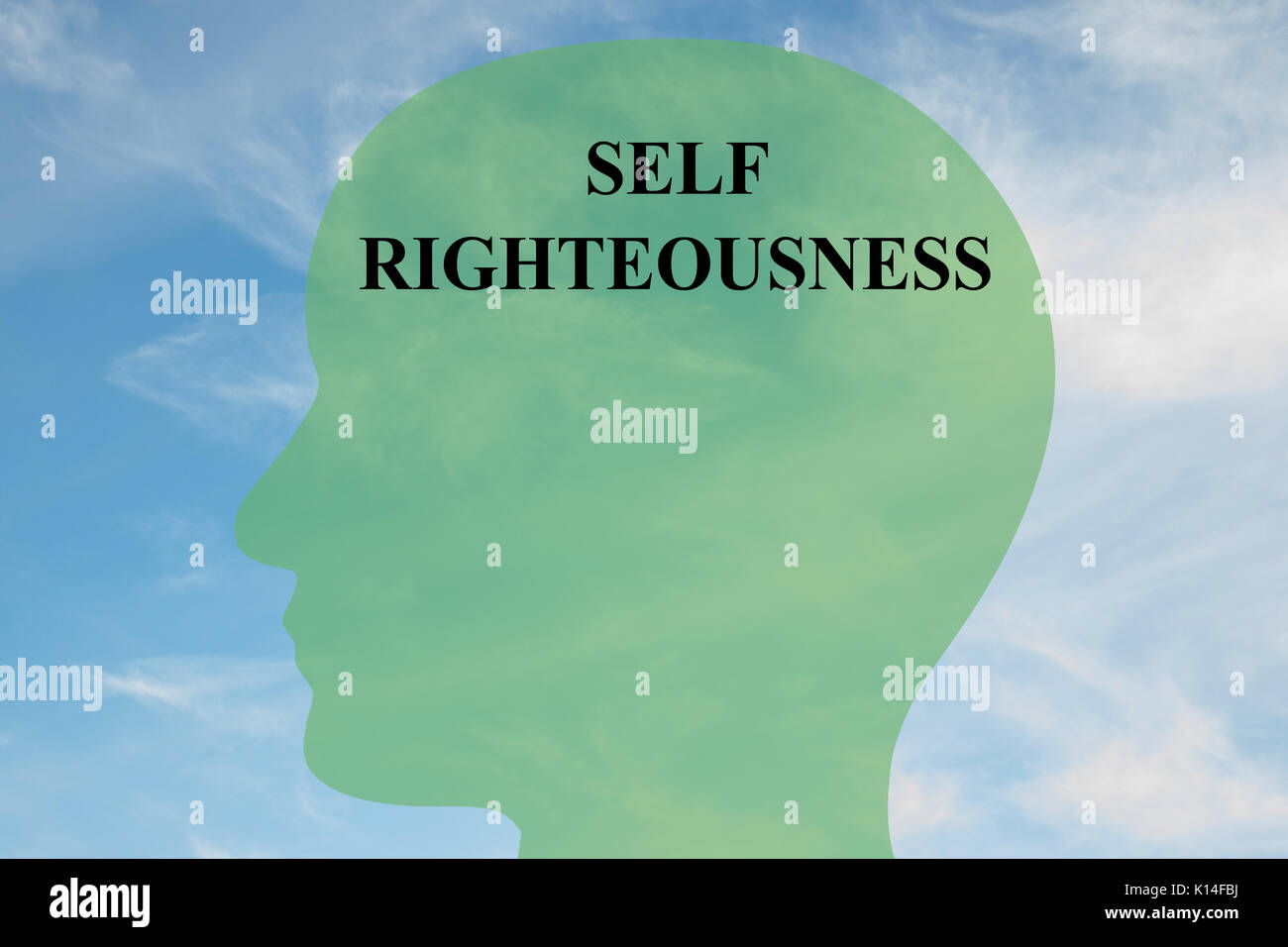 Render illustration of 'SELF RIGHTEOUSNESS' script on head silhouette, with cloudy sky as a background. - Stock Image