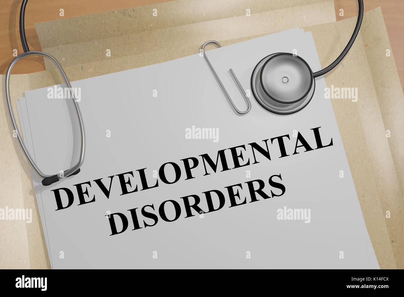3D illustration of 'DEVELOPMENTAL DISORDERS' title on a medical document - Stock Image