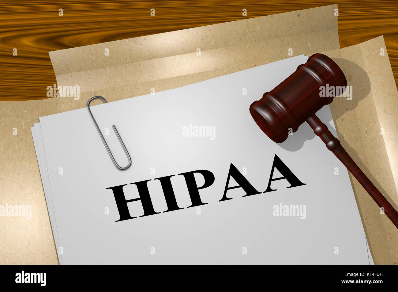 3D illustration of 'HIPAA' title on legal document (Health Insurance Portability and Accountability Act of 1996) - Stock Image