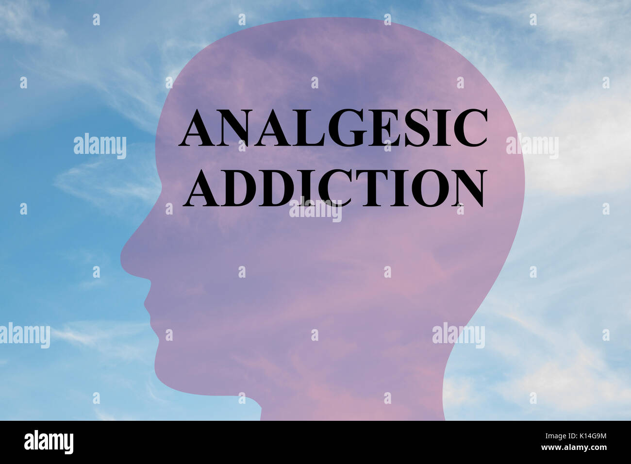 Render illustration of 'ANALGESIC ADDICTION' title on head silhouette, with cloudy sky as a background. - Stock Image
