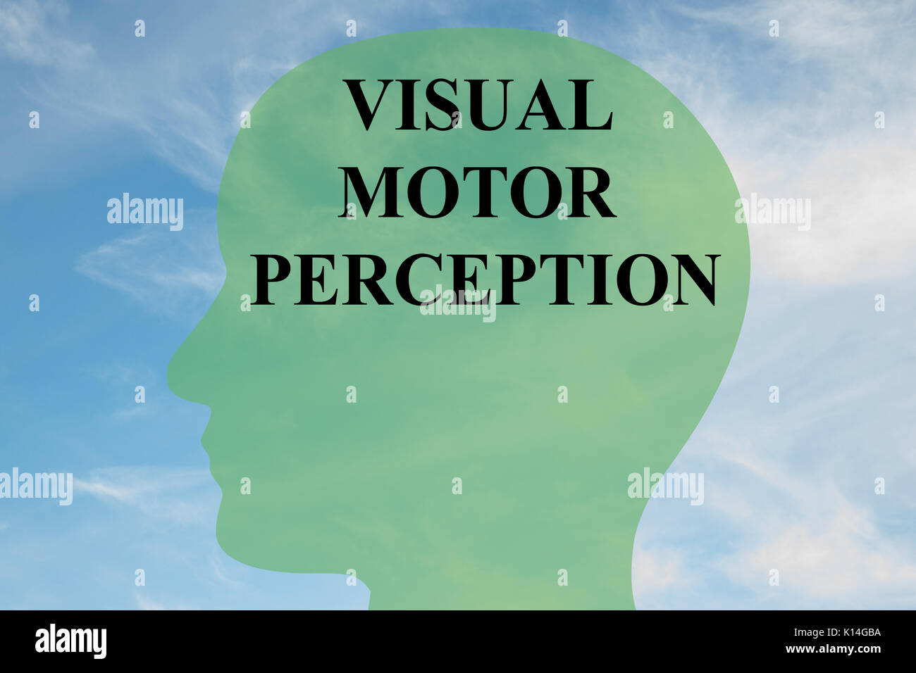 Render illustration of 'VISUAL MOTOR PERCEPTION' script on head silhouette, with cloudy sky as a background. - Stock Image