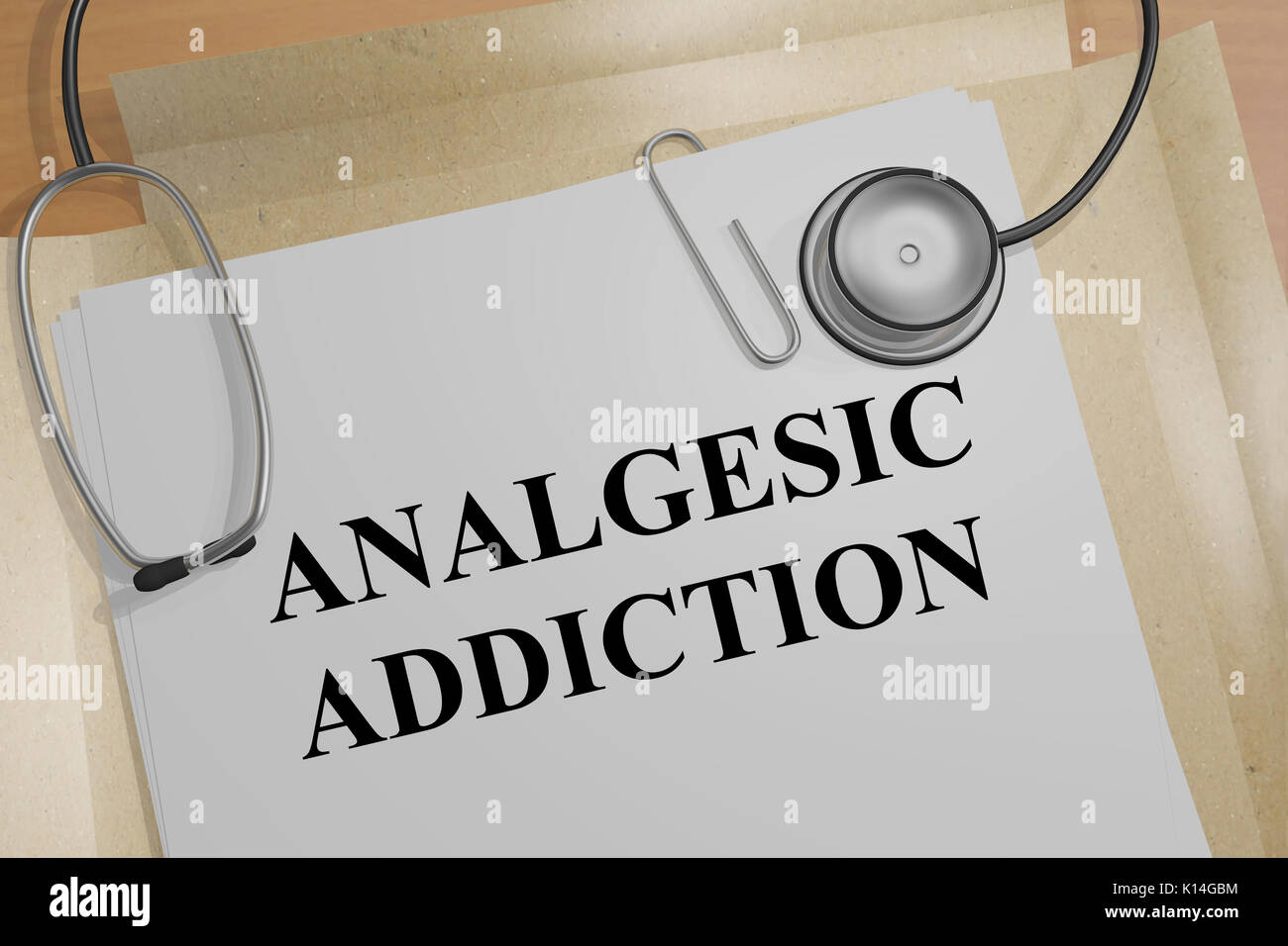 3D illustration of 'ANALGESIC ADDICTION' title on a medical document - Stock Image