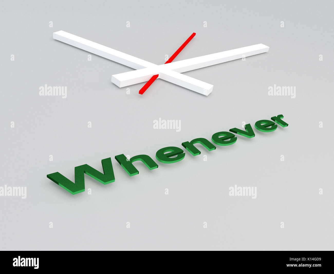 3D illustration of 'Whenever' title with a clock as a background - Stock Image