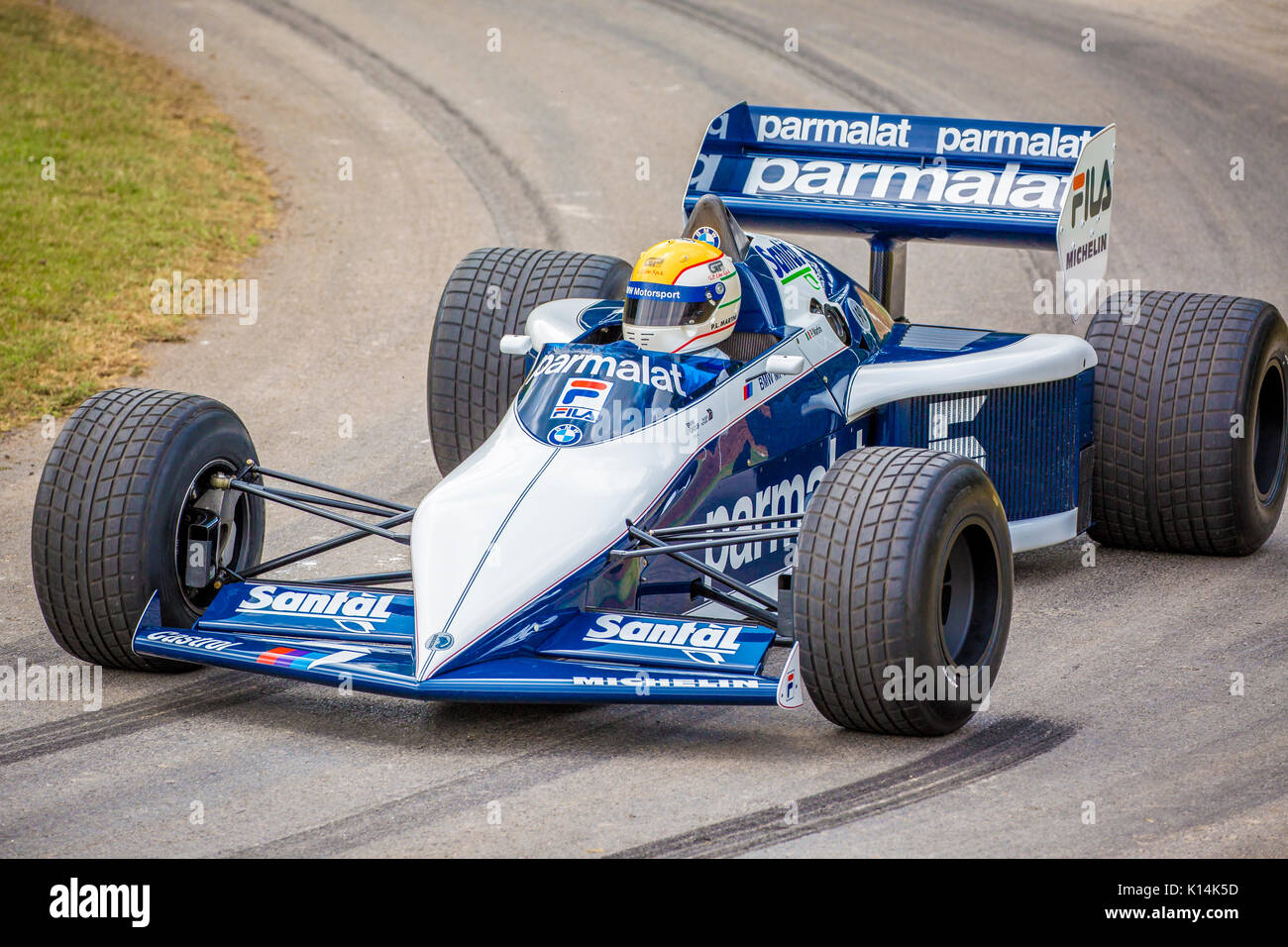 1983 Brabham-BMW BT52 F1 car with driver Riccardo Patrese at the ...