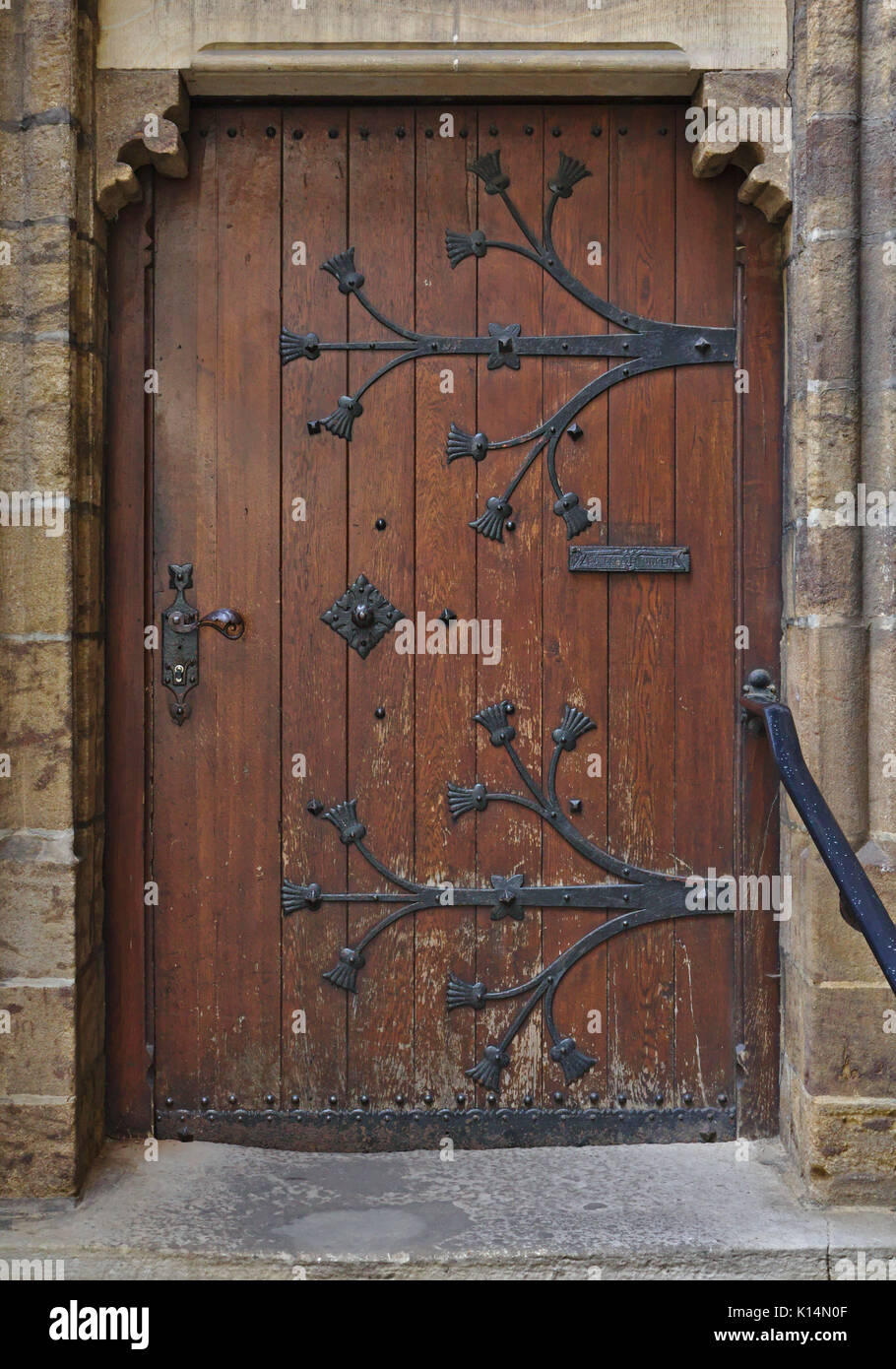 Antique Wooden Door With Archway And Steps