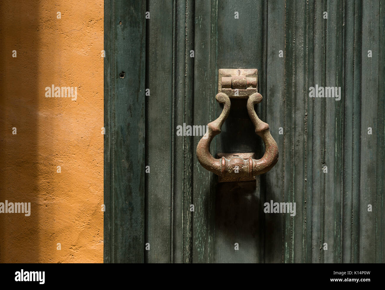 Classic door knob detail from a colonial house in SE Brazil Stock Photo