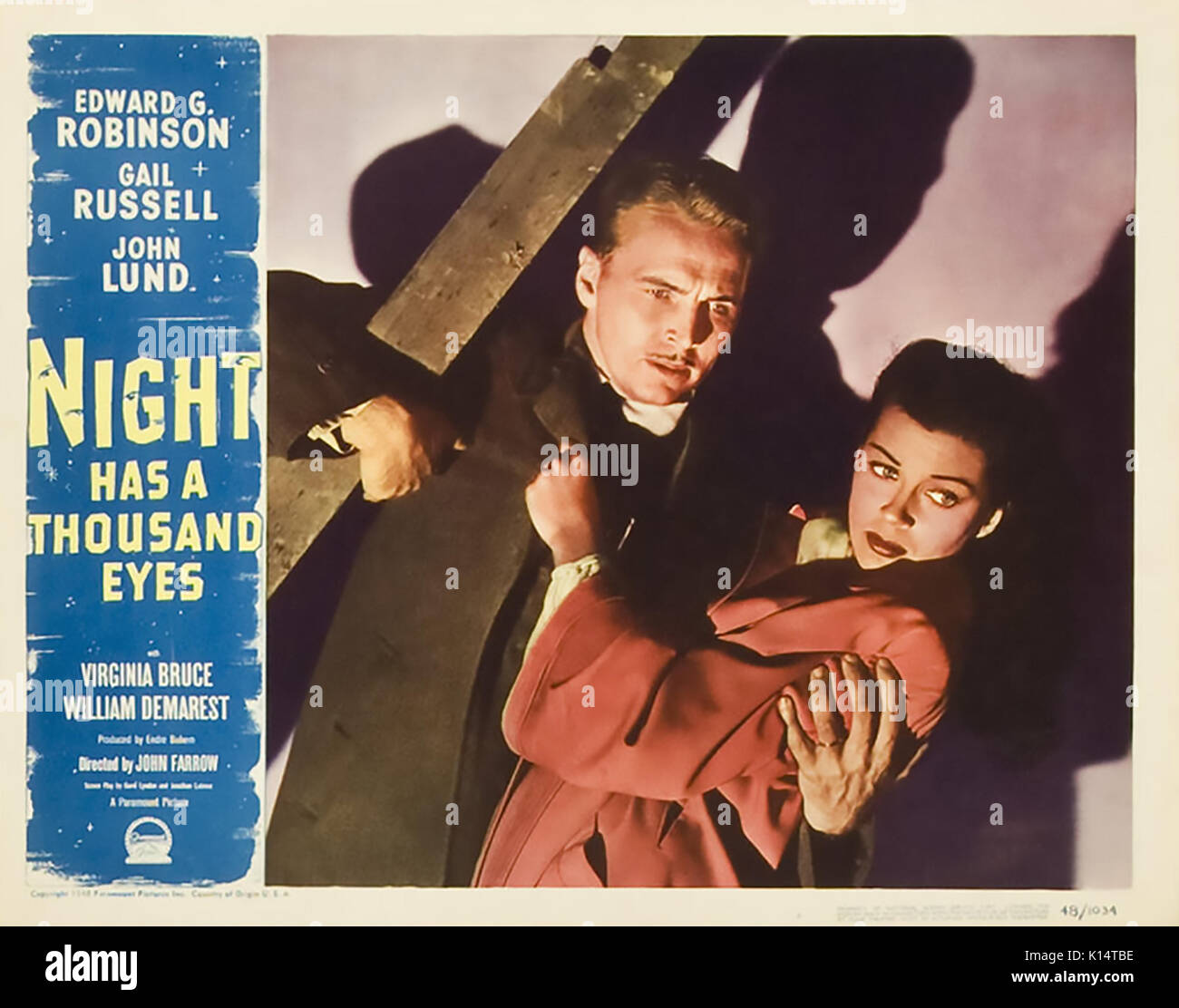 NIGHT HAS A THOUSAND EYES 1948 Paramount Pictures film noir with Gail Russell and  John Lund - Stock Image