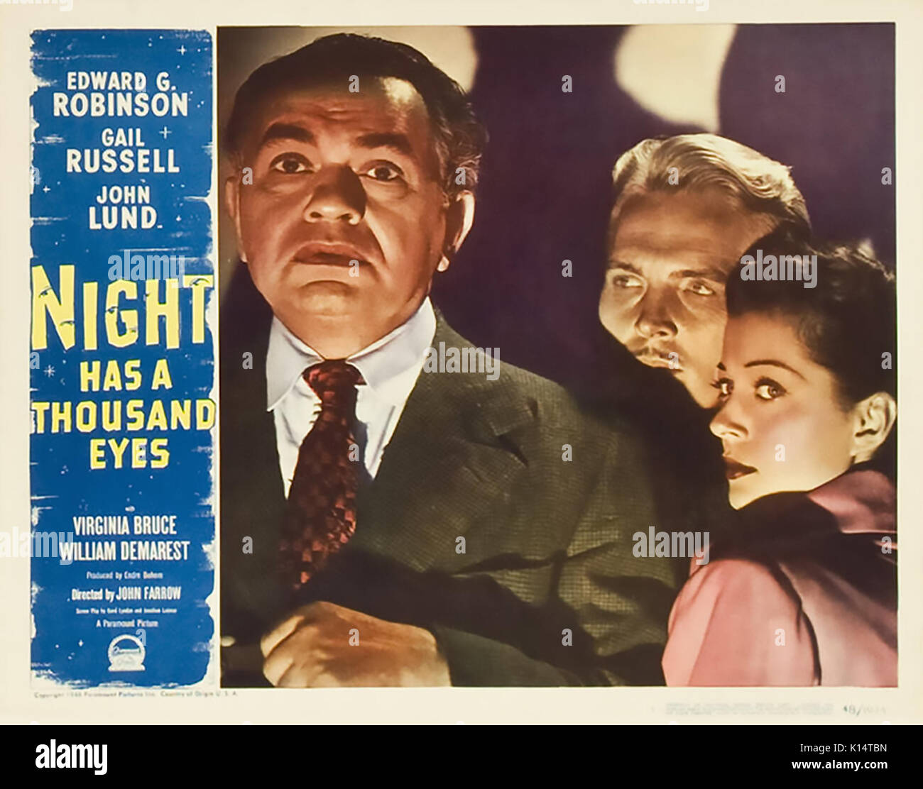 NIGHT HAS A THOUSAND EYES 1948 Paramount Pictures film noir with from left: Edward G. Robinson, John Lund, Gail Russell - Stock Image