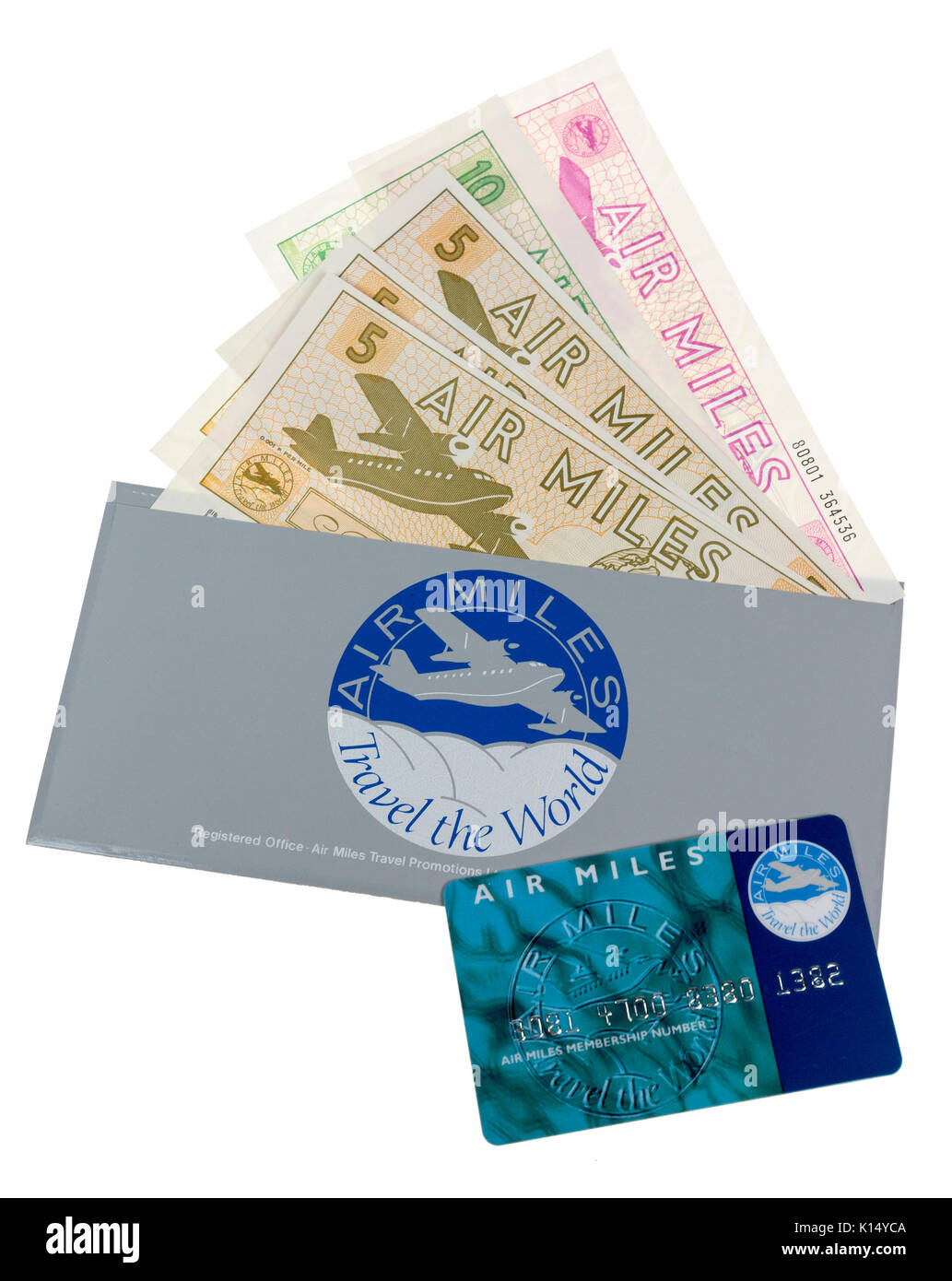 Air Miles card and vouchers. In the UK the reward program scheme began in 1986 - Stock Image