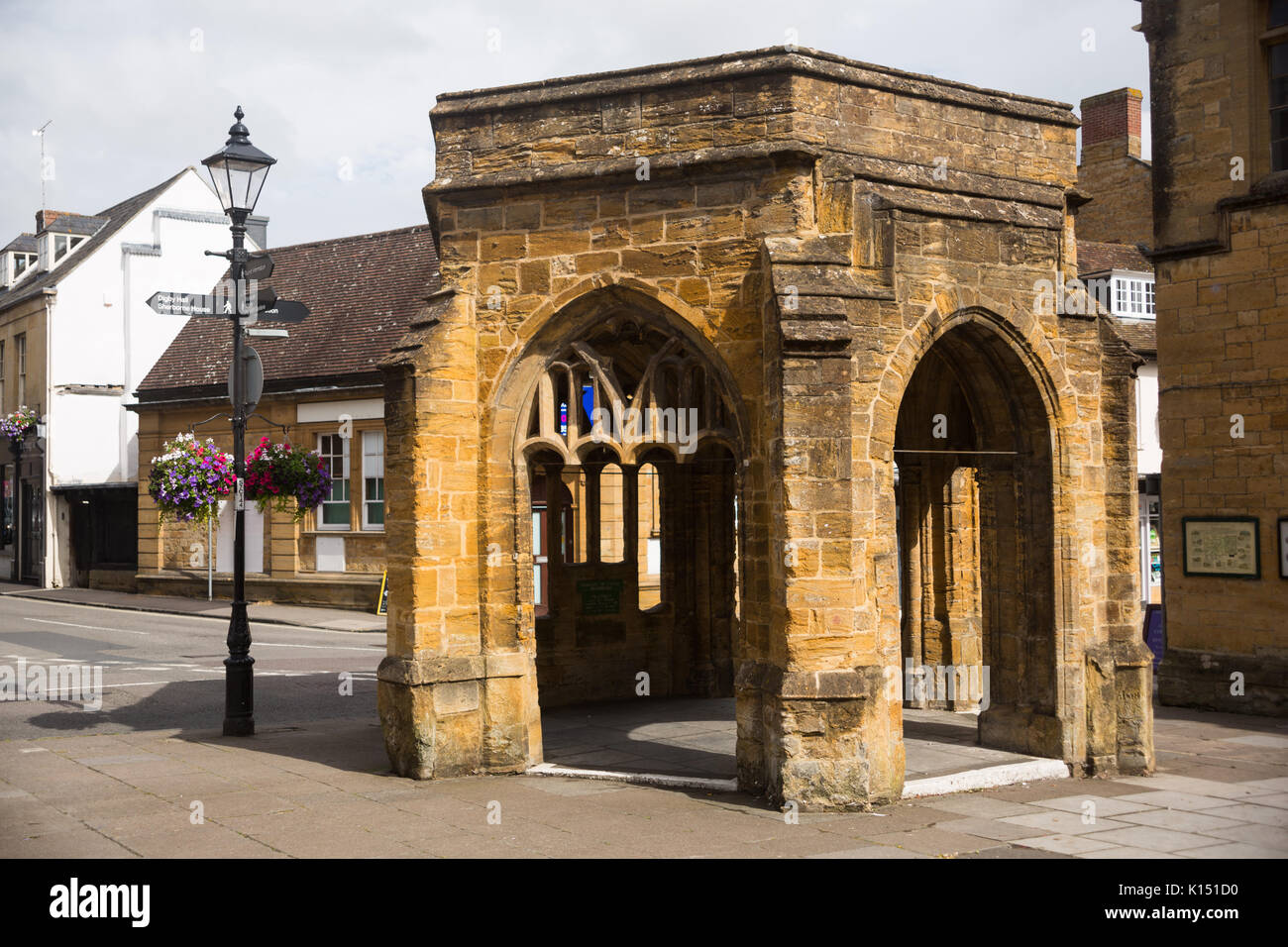 The Conduit old hexagonal stone shelter structure (scheduled ancient monument early16th Century) off Cheap Street in Sherborne town centre, Dorset, UK - Stock Image
