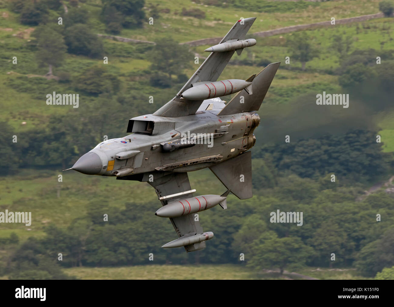 RAF Tornado GR4 on a low level flying sortie in the Mach Loop LFA7 Stock Photo