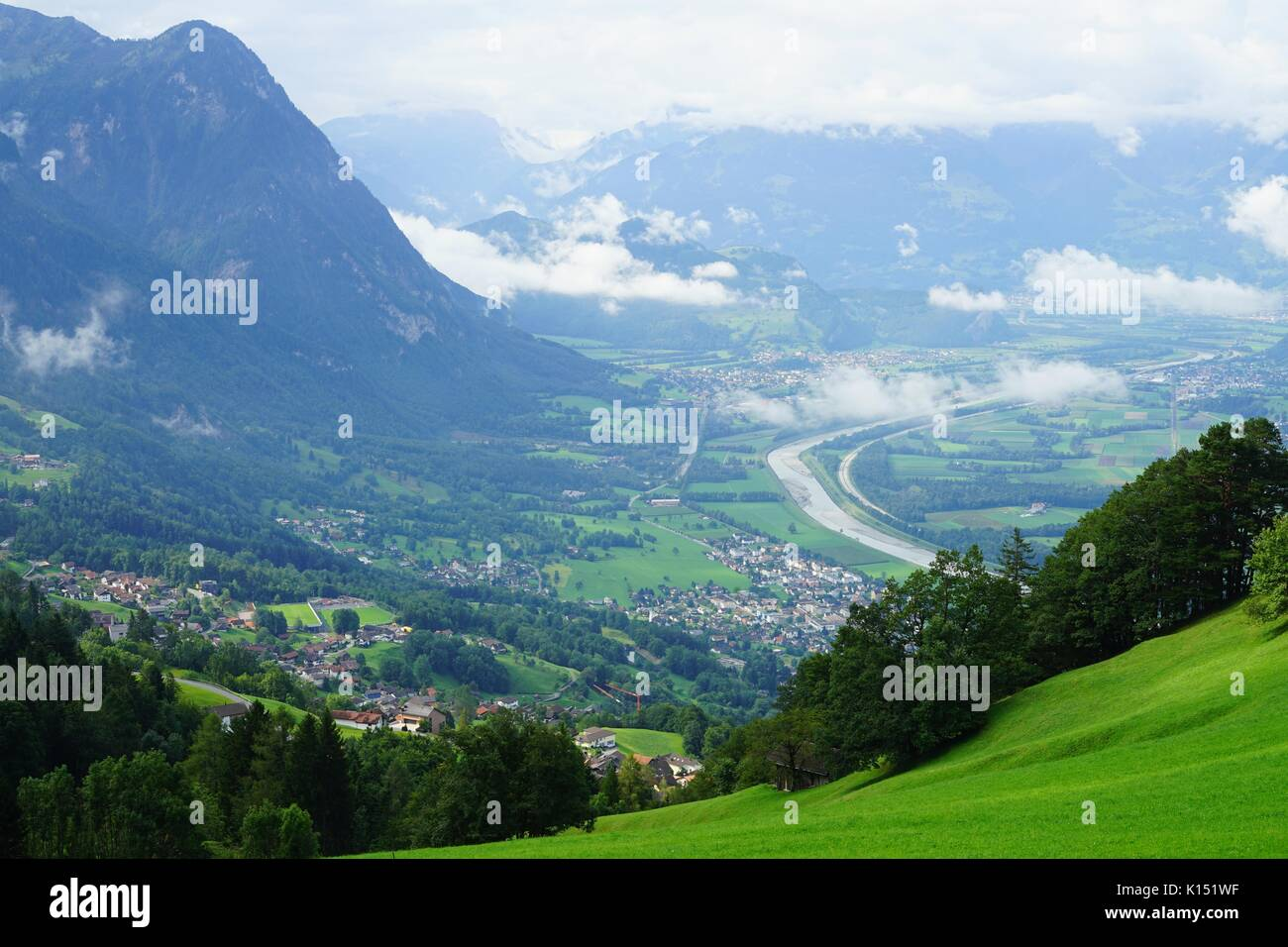 View of the Rhine Valley in the Alps between Liechtenstein and Switzerland Stock Photo