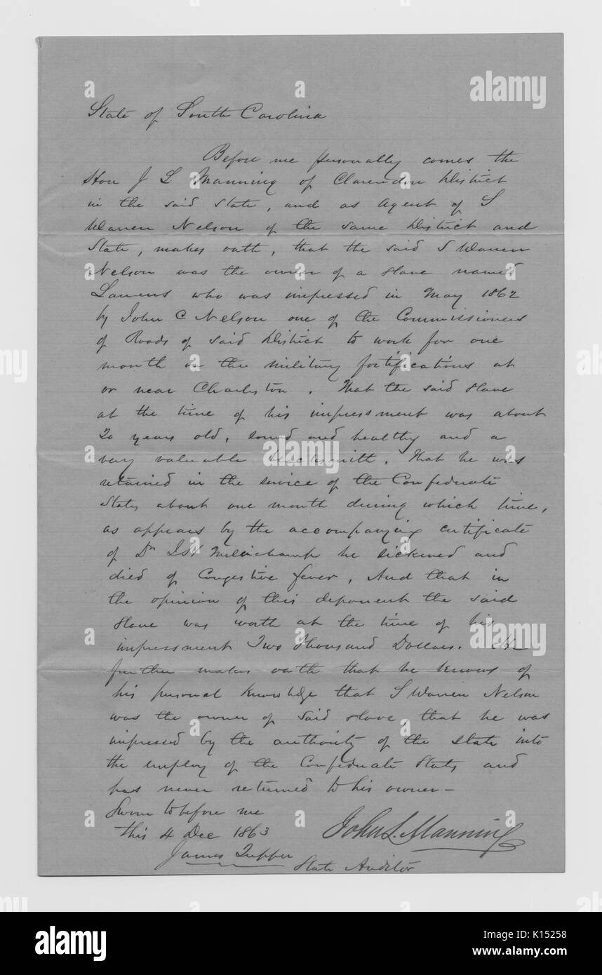 Handwritten letter provided as proof that a slave owned by John Manning was lost while serving the military, owner is seeking reimbursement from South Carolina for the monetary value of the slave at the time of his death, 1863. From the New York Public Library. - Stock Image
