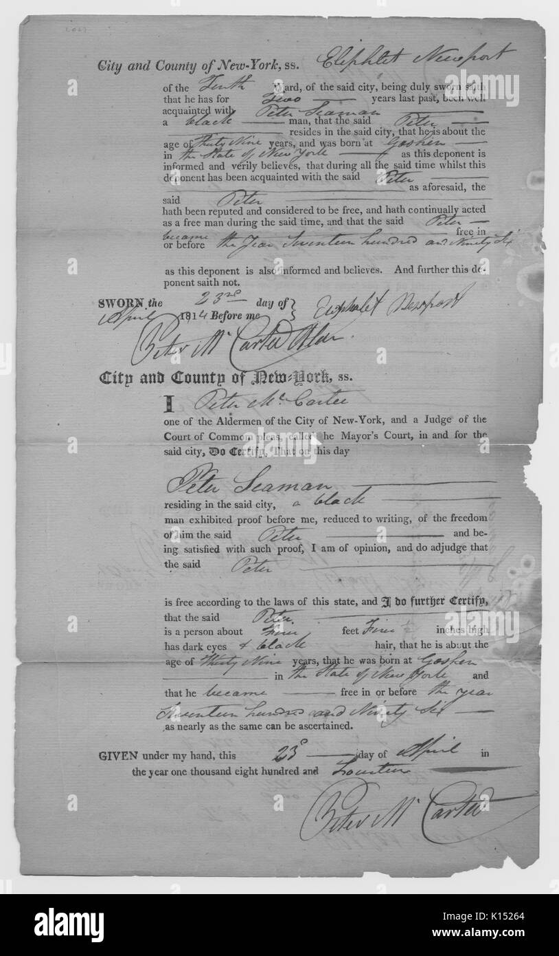 Certificate issued by an alderman, who was also Judge of the Court of Common Please, to show that Peter Seaman was a free man, also contains a physical description of Peter Seaman, 1814. From the New York Public Library. - Stock Image