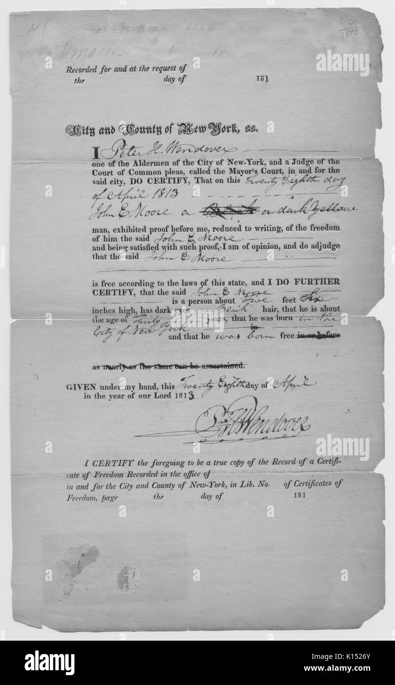 A legal document from an Alderman of New York City who was also a Judge of the Mayor's Court, certifying that John E Moore is a free man and was born as such, the document also provides a physical description of John E Moore, 1813. From the New York Public Library. - Stock Image