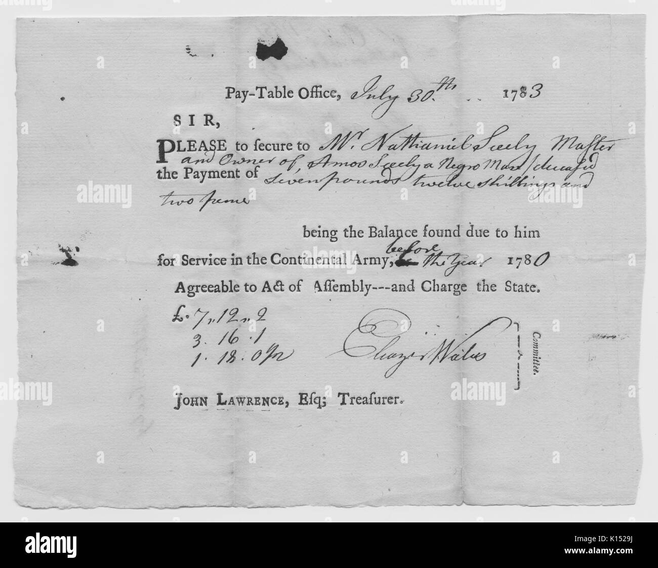 A request for compensation for the loss of a slave named Amos Seely, who was killed during the Revolutionary War, to be paid to his owner, Nathaniel Seely, 1783. From the New York Public Library. - Stock Image