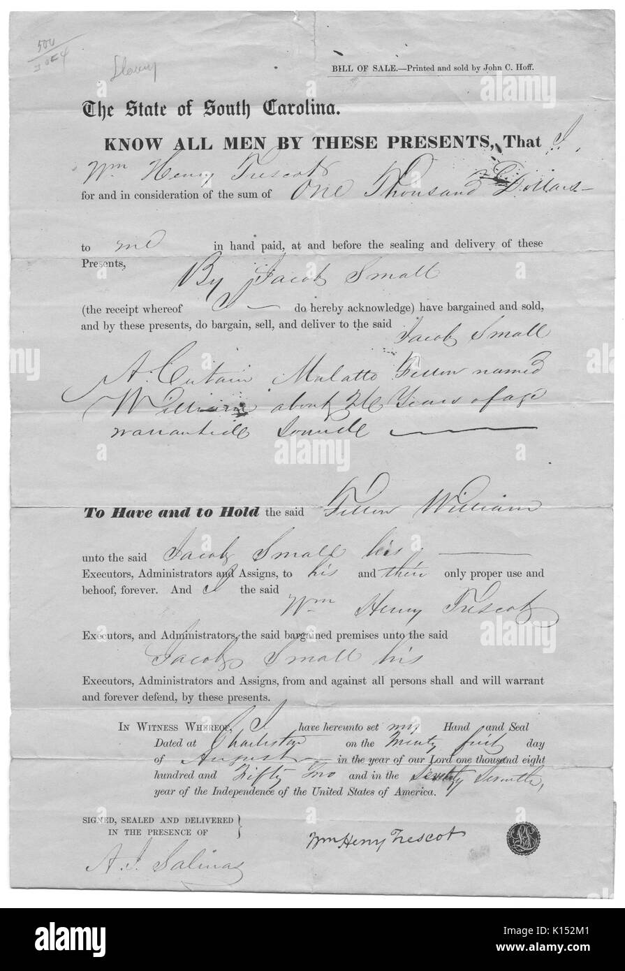 A bill of sale for a slave, consisting of a form letter with hand written sections to complete the form, sale was for $1000 in the state of South Carolina, 1852. From the New York Public Library. - Stock Image