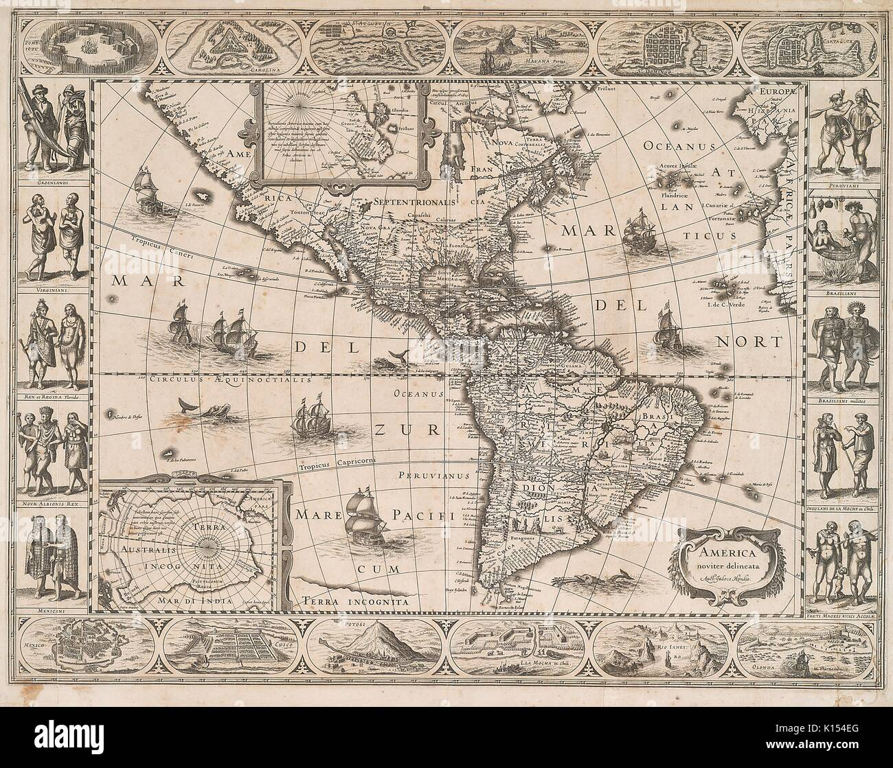 Early etched map of the Americas, America Noviter Delineata, circa 1641, depicting boats on the oceans, with a later added border of images of the different native peoples and scenery along the North and South American territories, 1843. - Stock Image