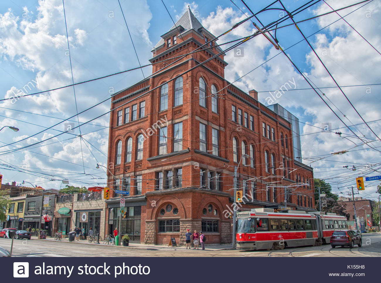 Dingman's Hall, currently Broadview Hotel is a heritage building with a Romanesque Revival Architecture, it is also a tourist attraction in the Canadi - Stock Image