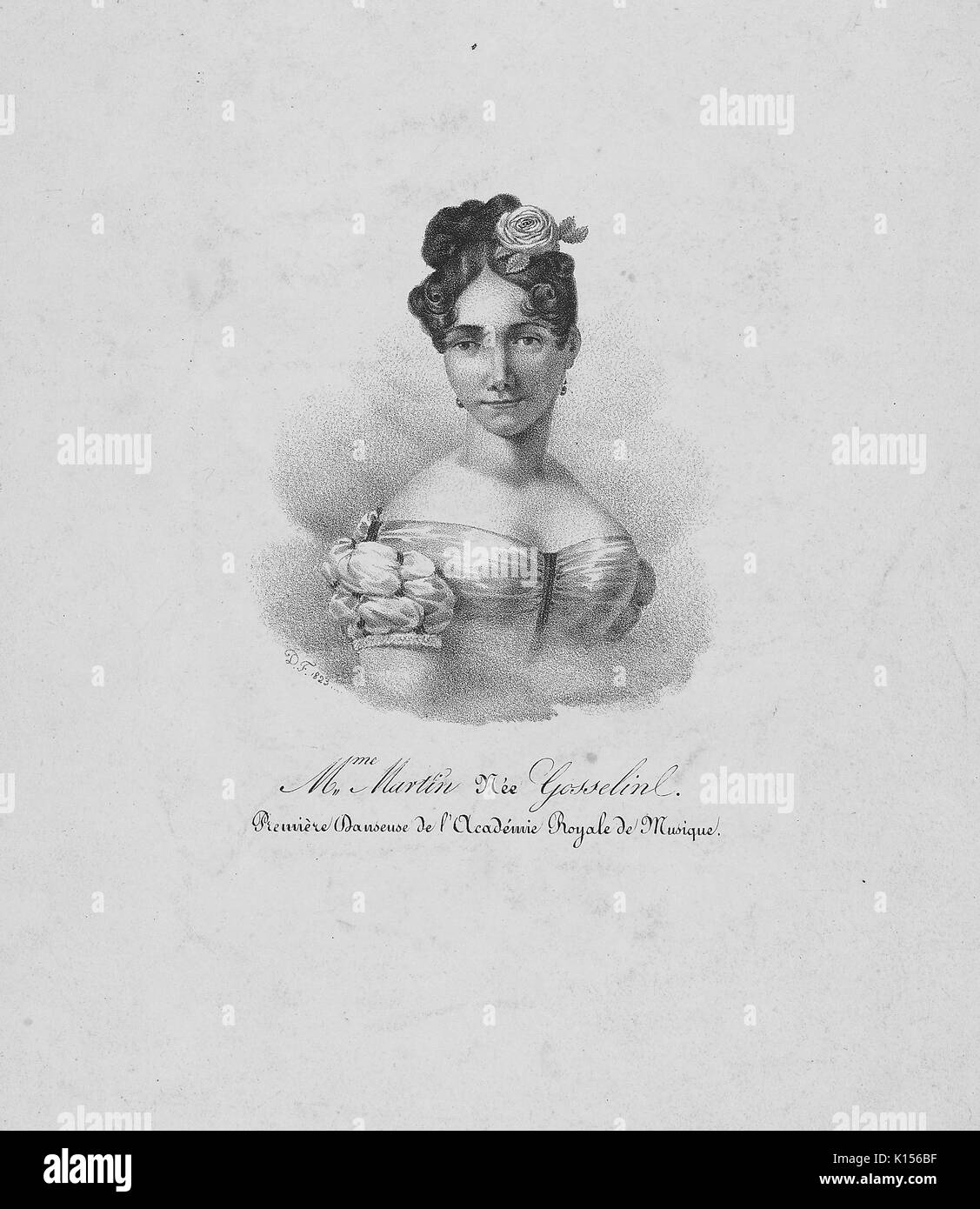 Madame Martin (nee Gosselin), portrait, with original French caption reading 'premiere danseuse de l'Academie royale de musique', translated 'Premiere Dancer of the Royal Academy of Music', 1823. From the New York Public Library. - Stock Image
