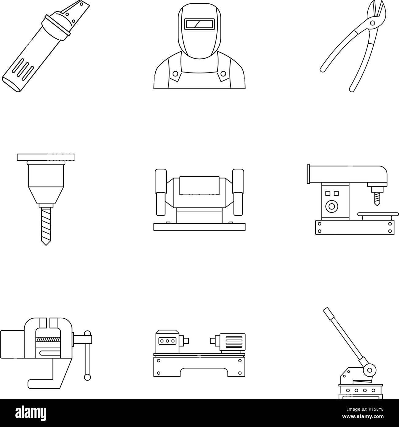 Metal processing equipment icon set, outline style - Stock Image