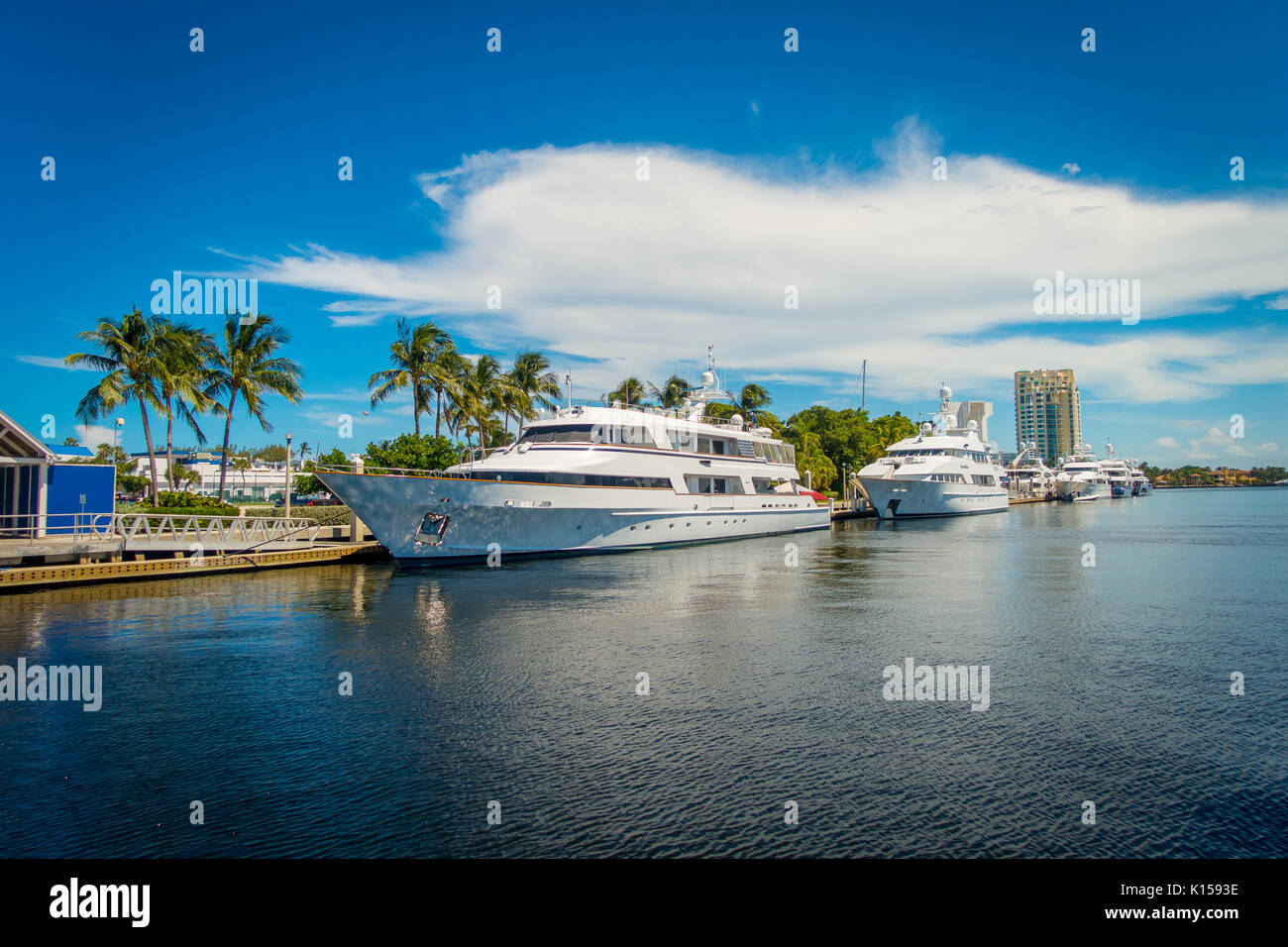 FORT LAUDERDALE, USA - JULY 11, 2017: Big boats parked in the water in the pier at the Fort Lauderdale International Stock Photo