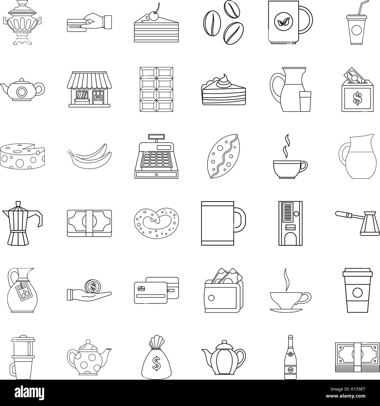 Bean icons set, outline style - Stock Image