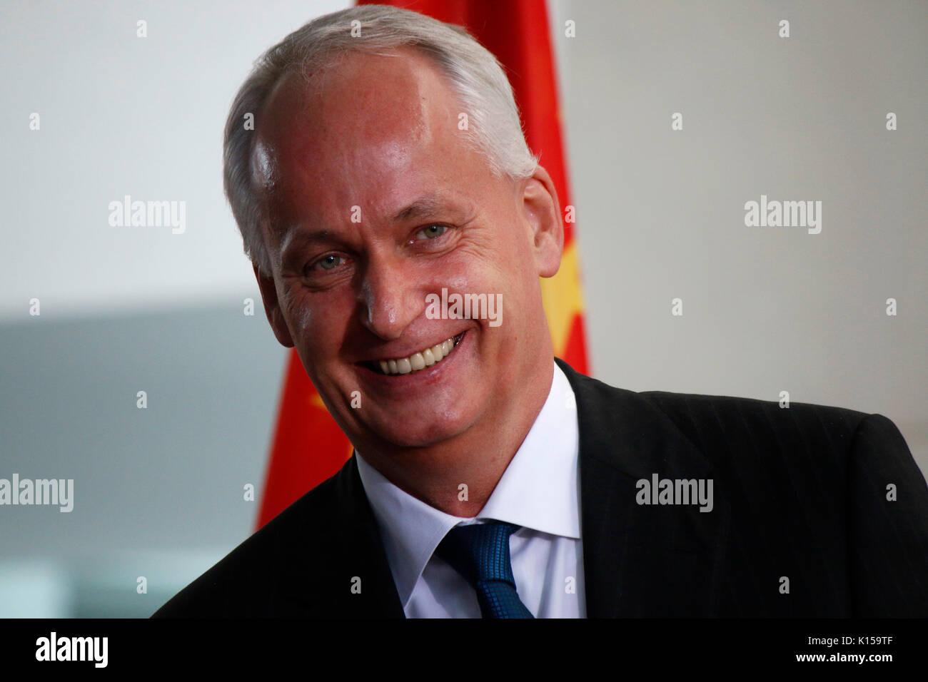 Hubertus Troska - Treffen der dt. Bundeskanzlerin mit dem chinesischen Staatspraeisdenten, Bundeskanzleramt, 5. Juli 2017, Berlin. - Stock Image