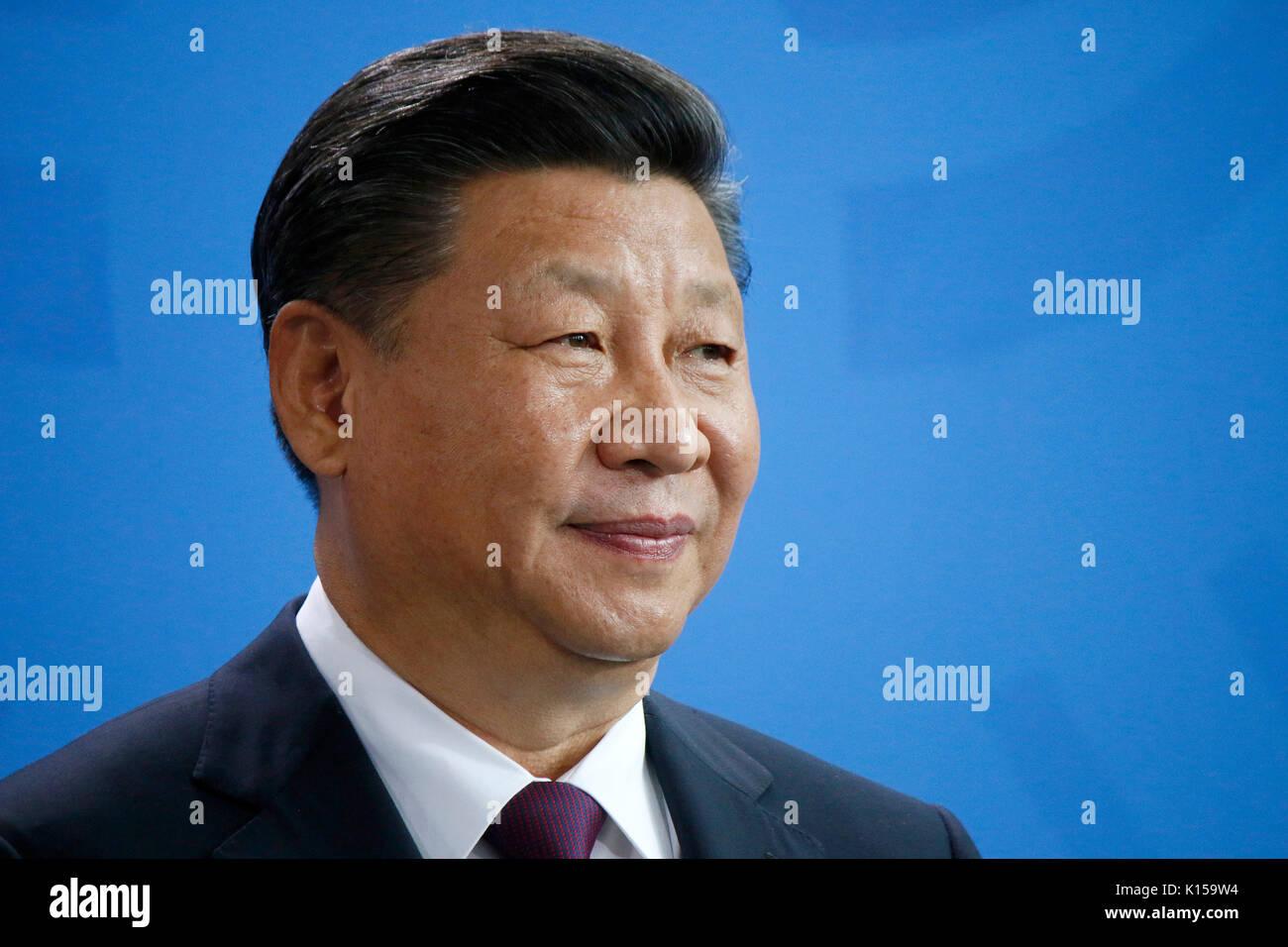 Xi Jinping - Treffen der dt. Bundeskanzlerin mit dem chinesischen Staatspraeisdenten, Bundeskanzleramt, 5. Juli 2017, Berlin. - Stock Image