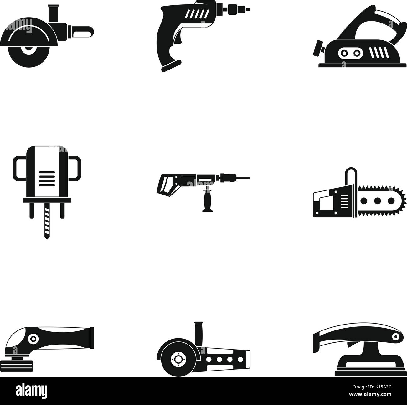 Power electric tool icon set, simple style - Stock Image