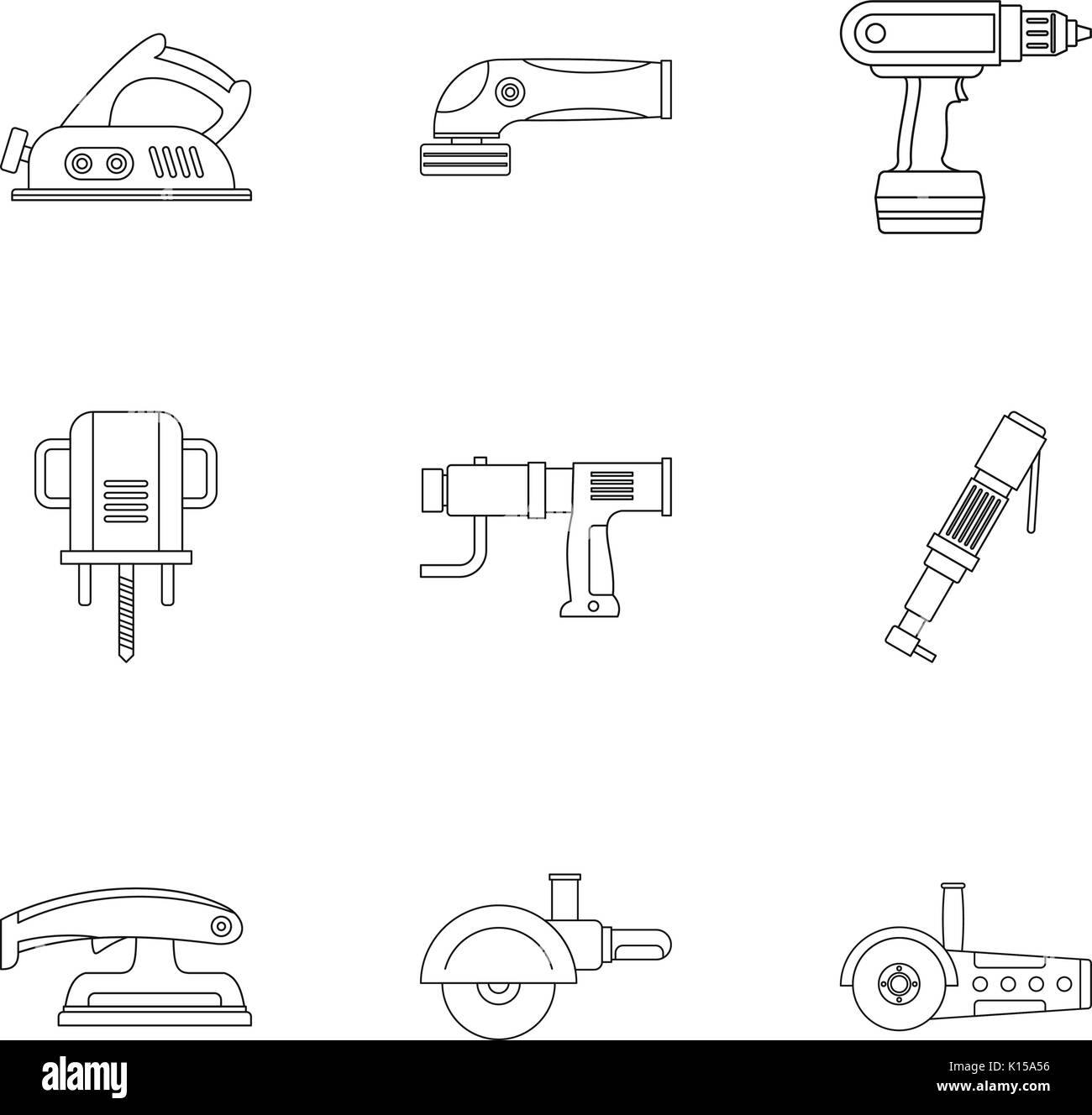 Power tool icon set, outline style - Stock Image