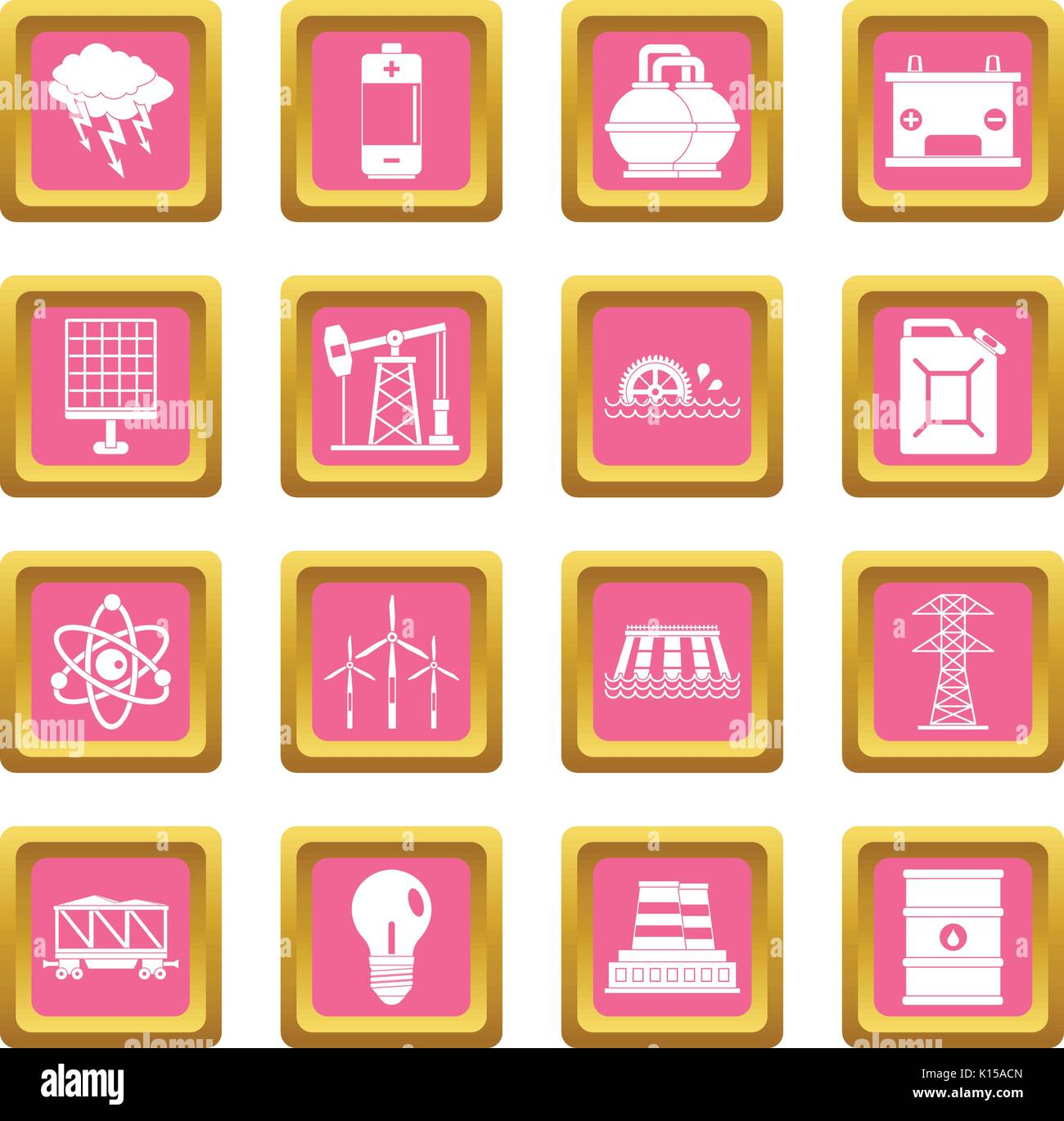 Energy sources items icons pink - Stock Image