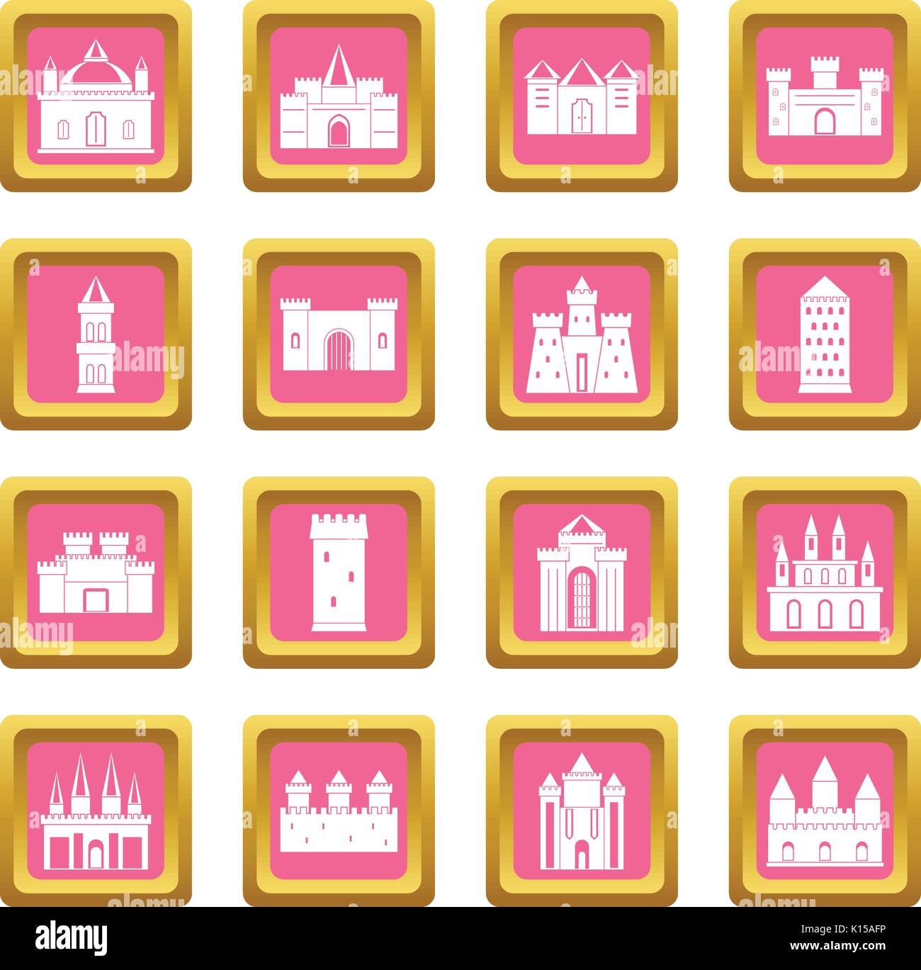 Towers and castles icons pink - Stock Vector