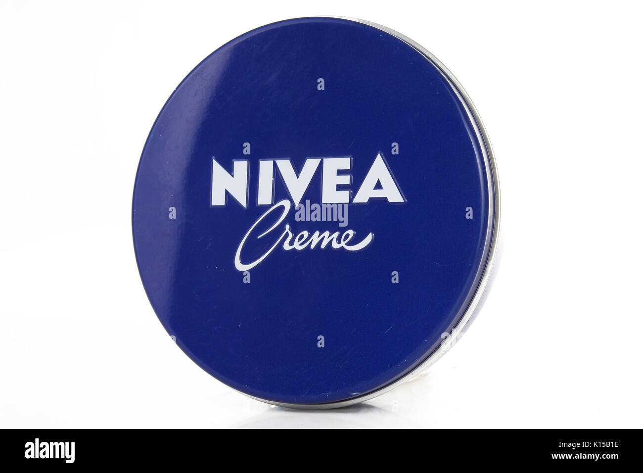 Retro original Nivea creme on isolated white studio background. - Stock Image