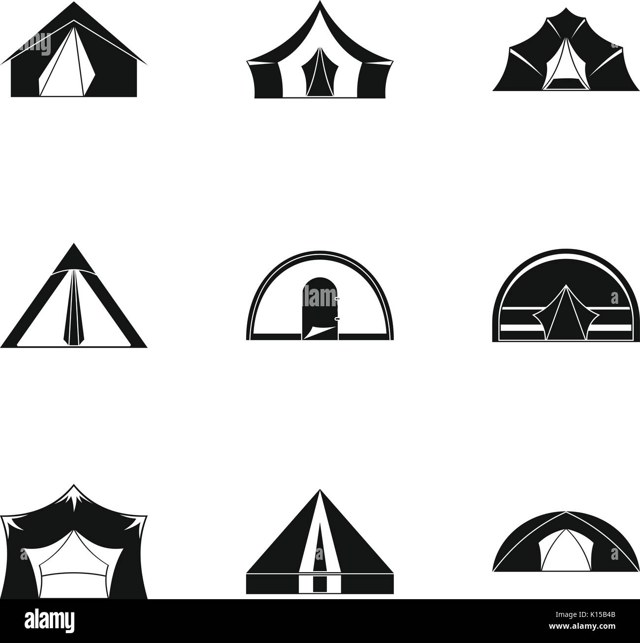 Tent form icon set, simple style Stock Vector Art & Illustration