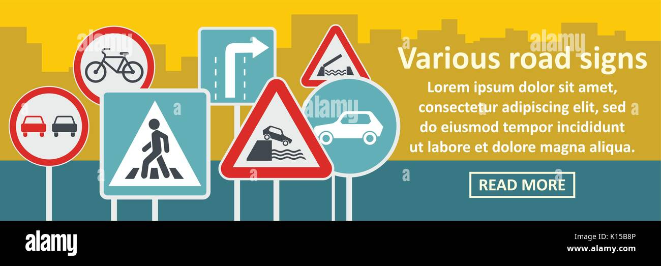 Various road sings banner horizontal concept - Stock Vector