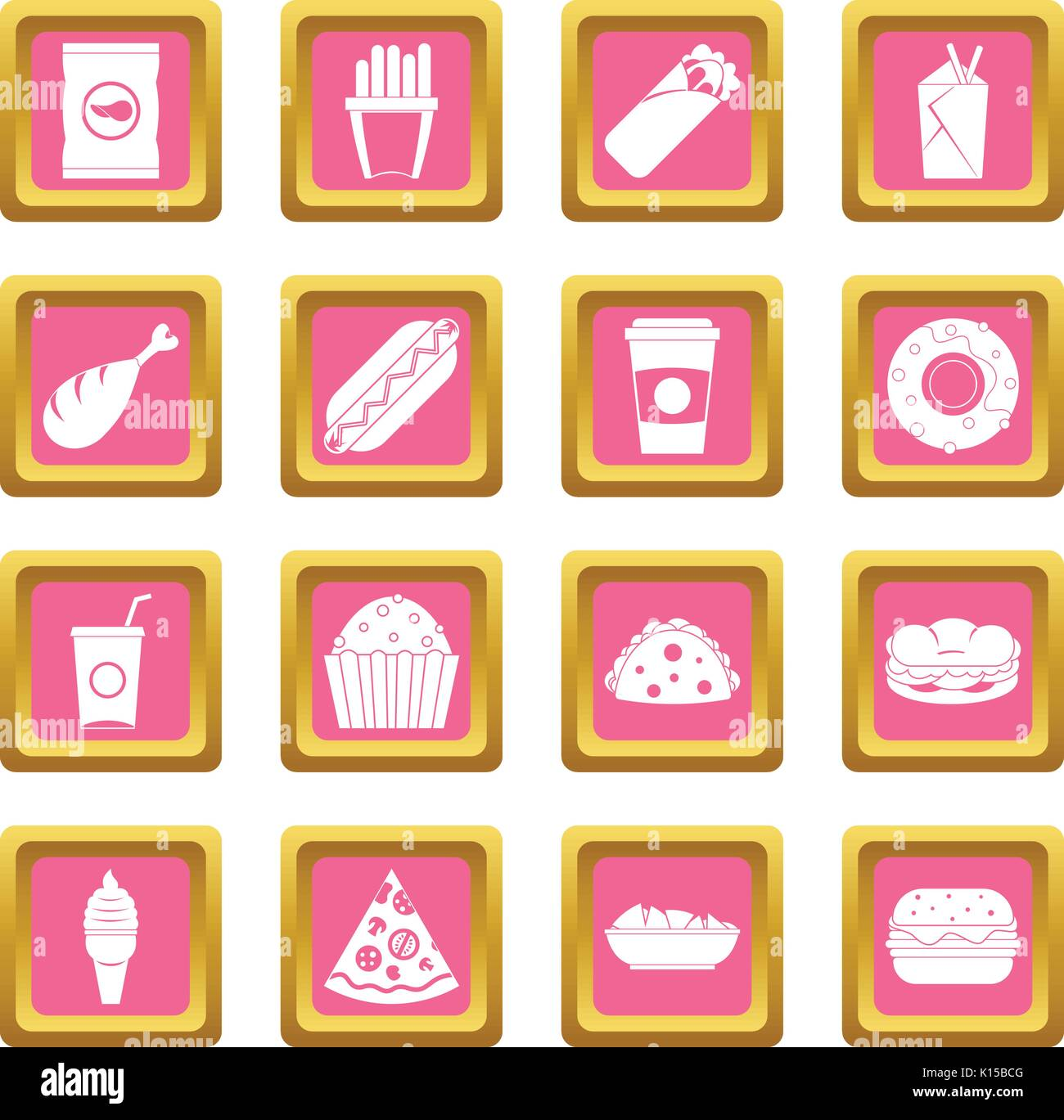 Fast food icons pink - Stock Vector