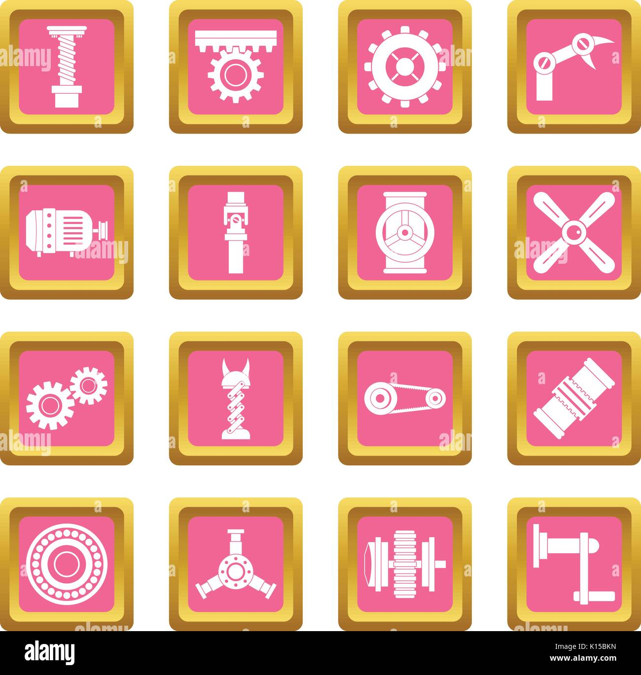 Techno mechanisms kit icons pink - Stock Image