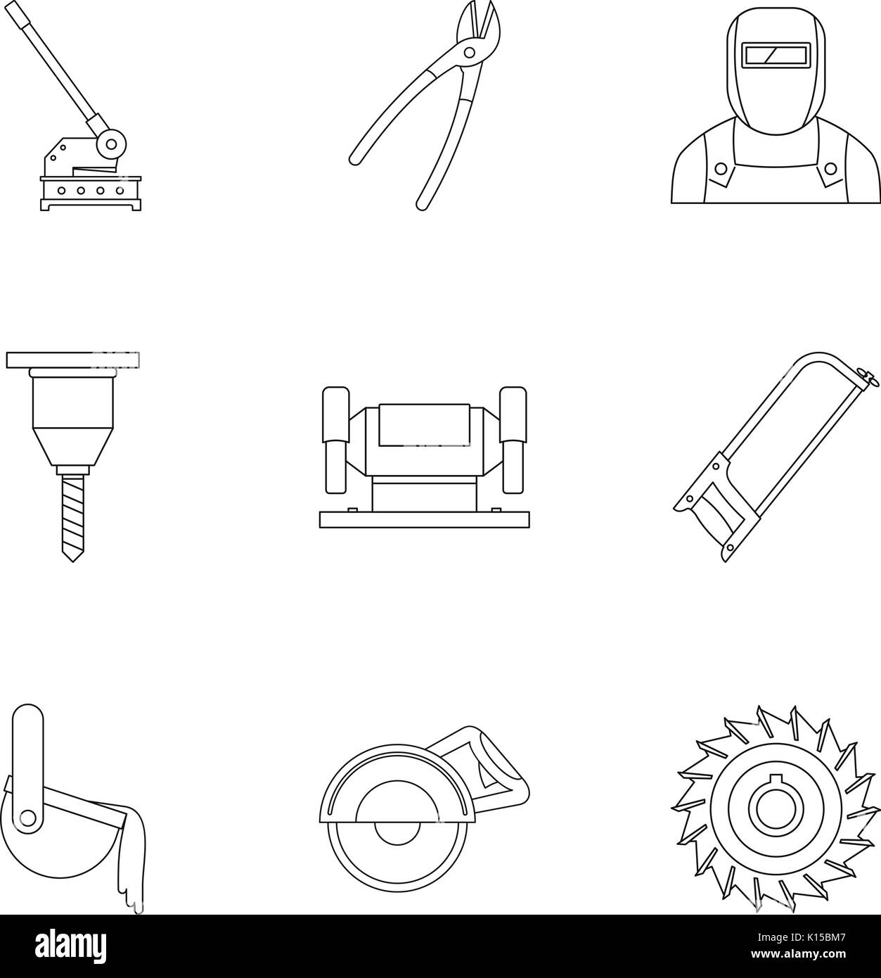 Metal processing industry icon set, outline style - Stock Image