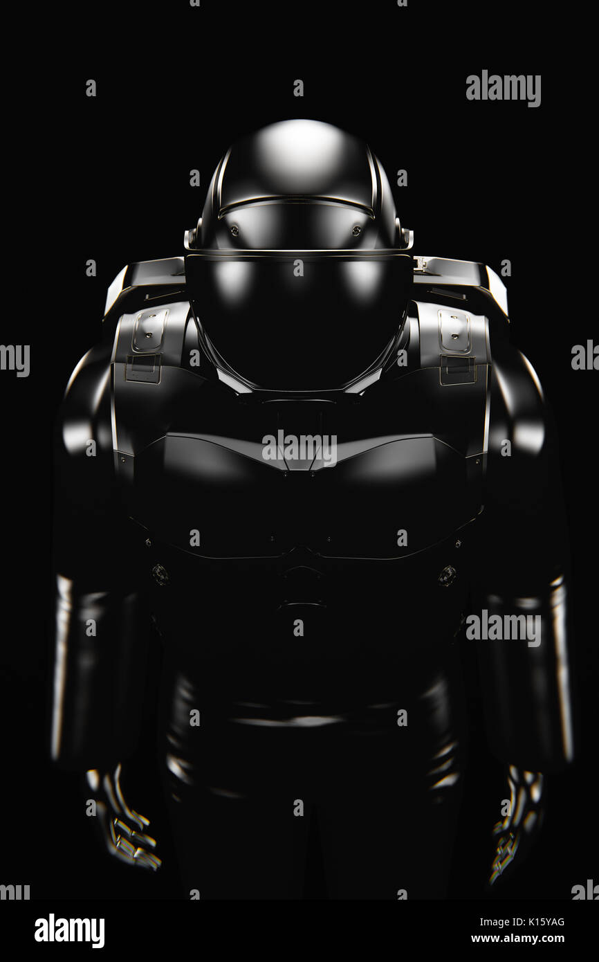 Black astronaut spacesuit, death skull in open helmet Stock Photo