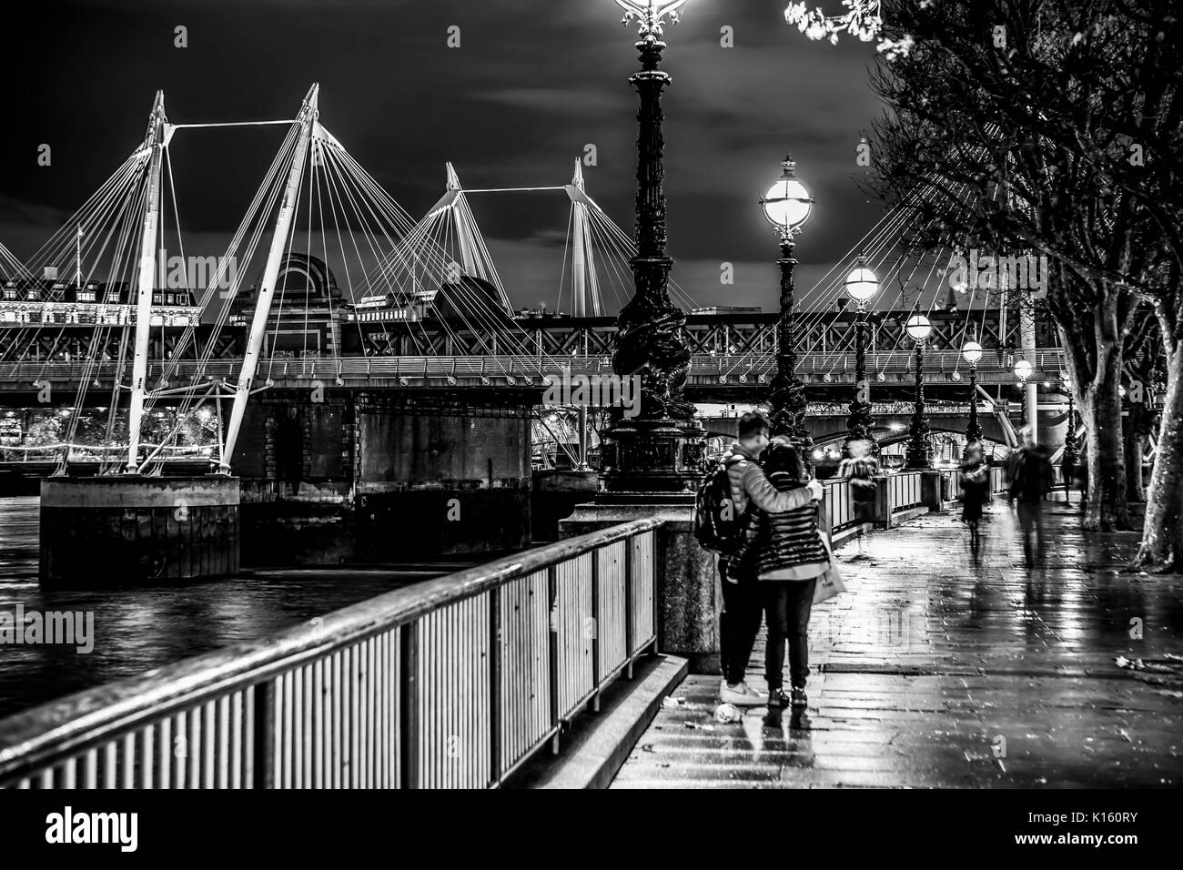 Beautiful South bank in London - romantic walk at River Thames - LONDON / ENGLAND - DECEMBER 6, 2017 - Stock Image