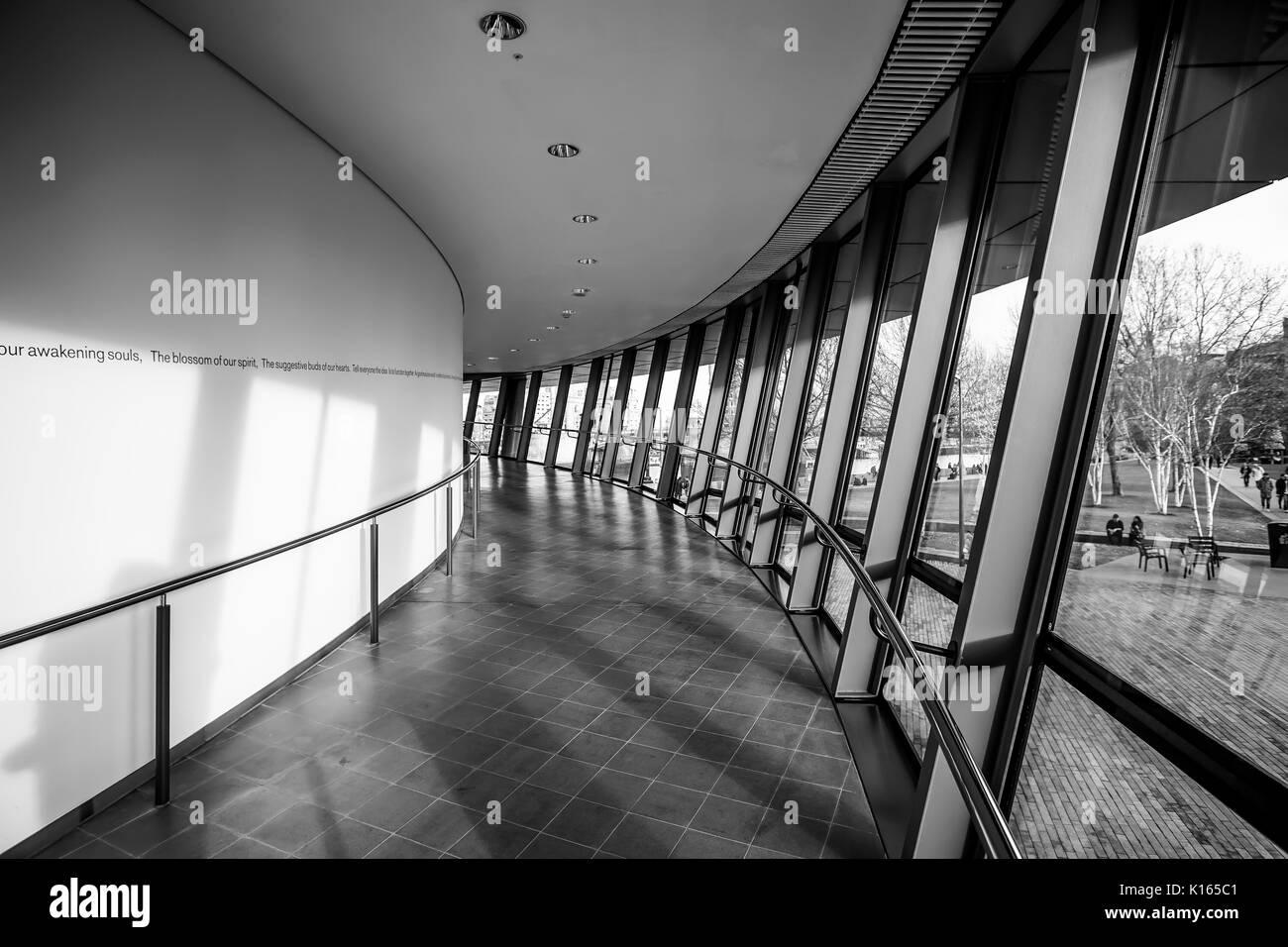 Inside London City Hall at River Thames - LONDON / ENGLAND - DECEMBER 6, 2017 - Stock Image