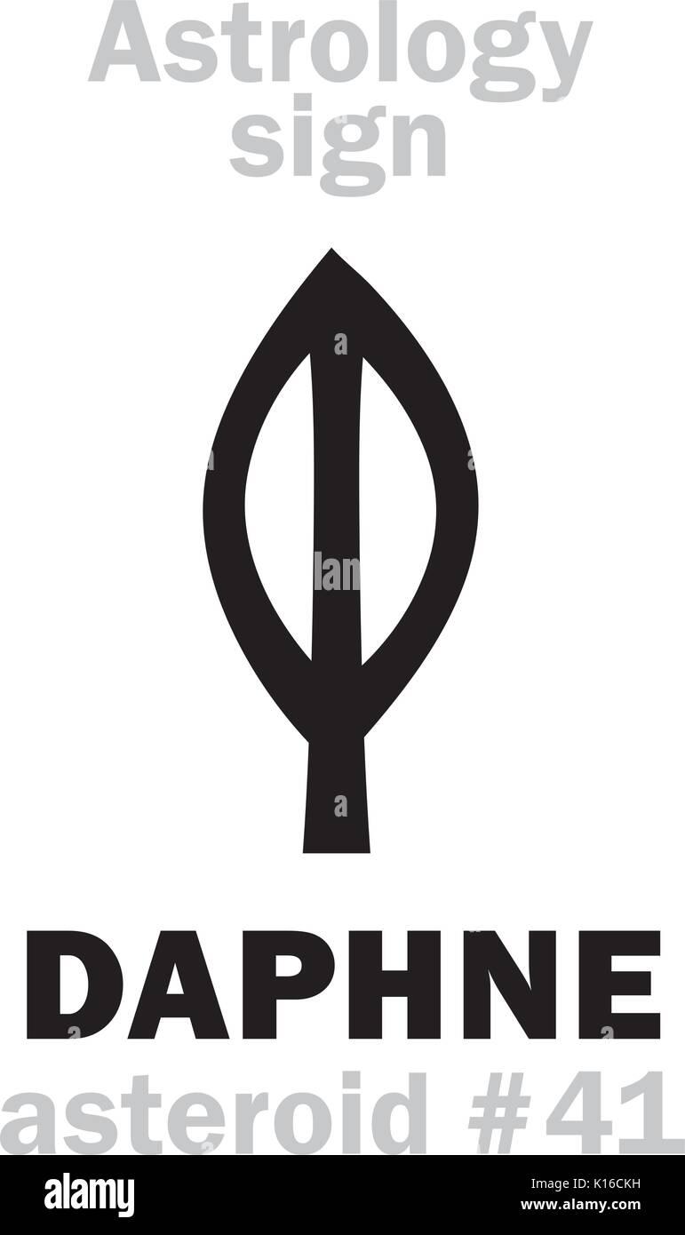 Astrology Alphabet: DAPHNE, asteroid #41. Hieroglyphics character sign (single symbol). - Stock Image