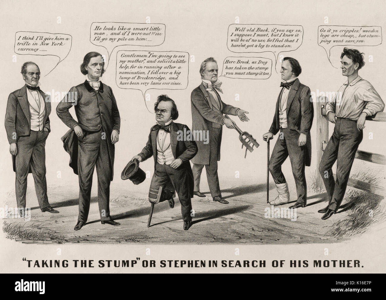 'Taking the stump' or Stephen in search of his mother . A satire on Douglas's July 1860 campaign tour of upstate New York and New England.  Here a double-entendre in the use of the word 'stump,' playing on its use as a colloquialism for both campaigning and a wooden leg. In the center Douglas, wearing a wooden leg, speaks with John Bell of Tennessee, Constitutional Union presidential candidate (far left), and influential Democrat Virginia governor Henry A. Wise. Douglas claims, 'Gentlemen p(s'm going to see my mother,' and solicit a little help, for in running after a nomination, I fell over a - Stock Image